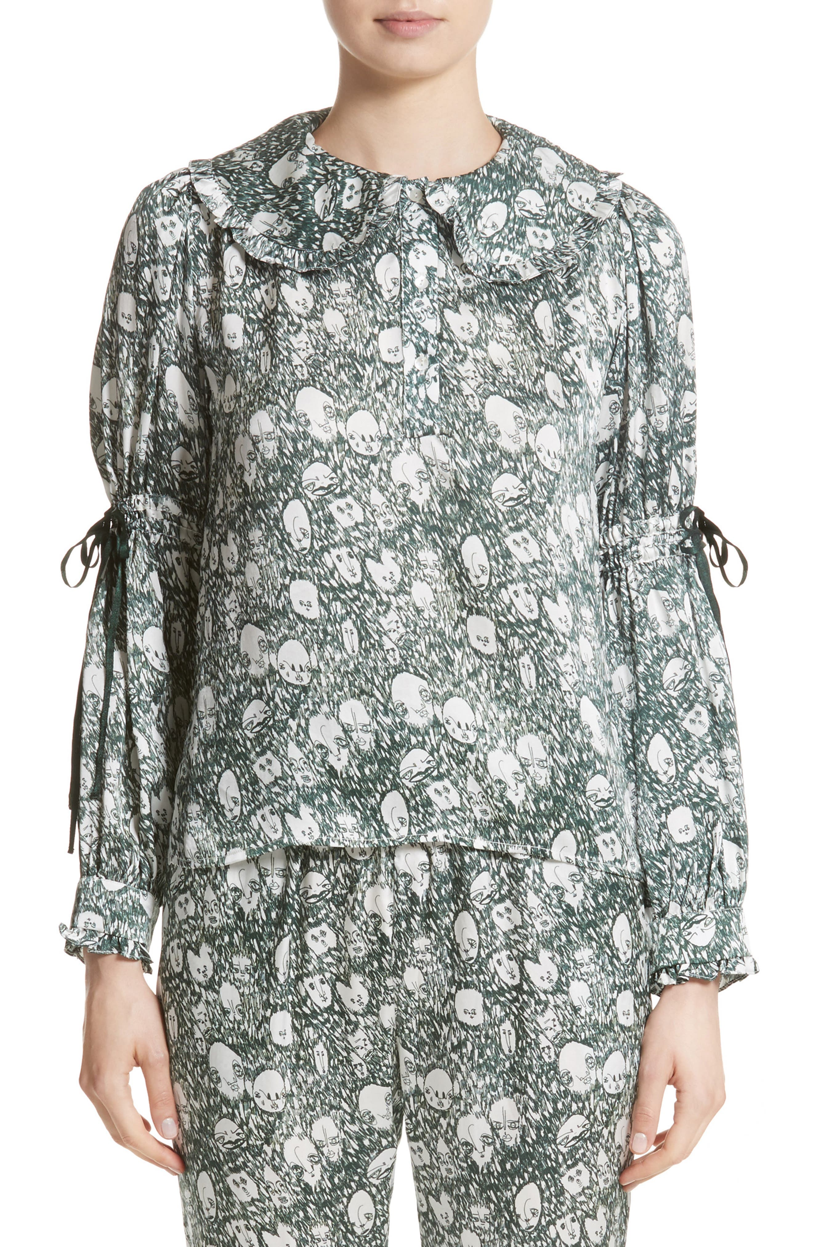 Shrimps Iona Print Silk Blouse with Ties