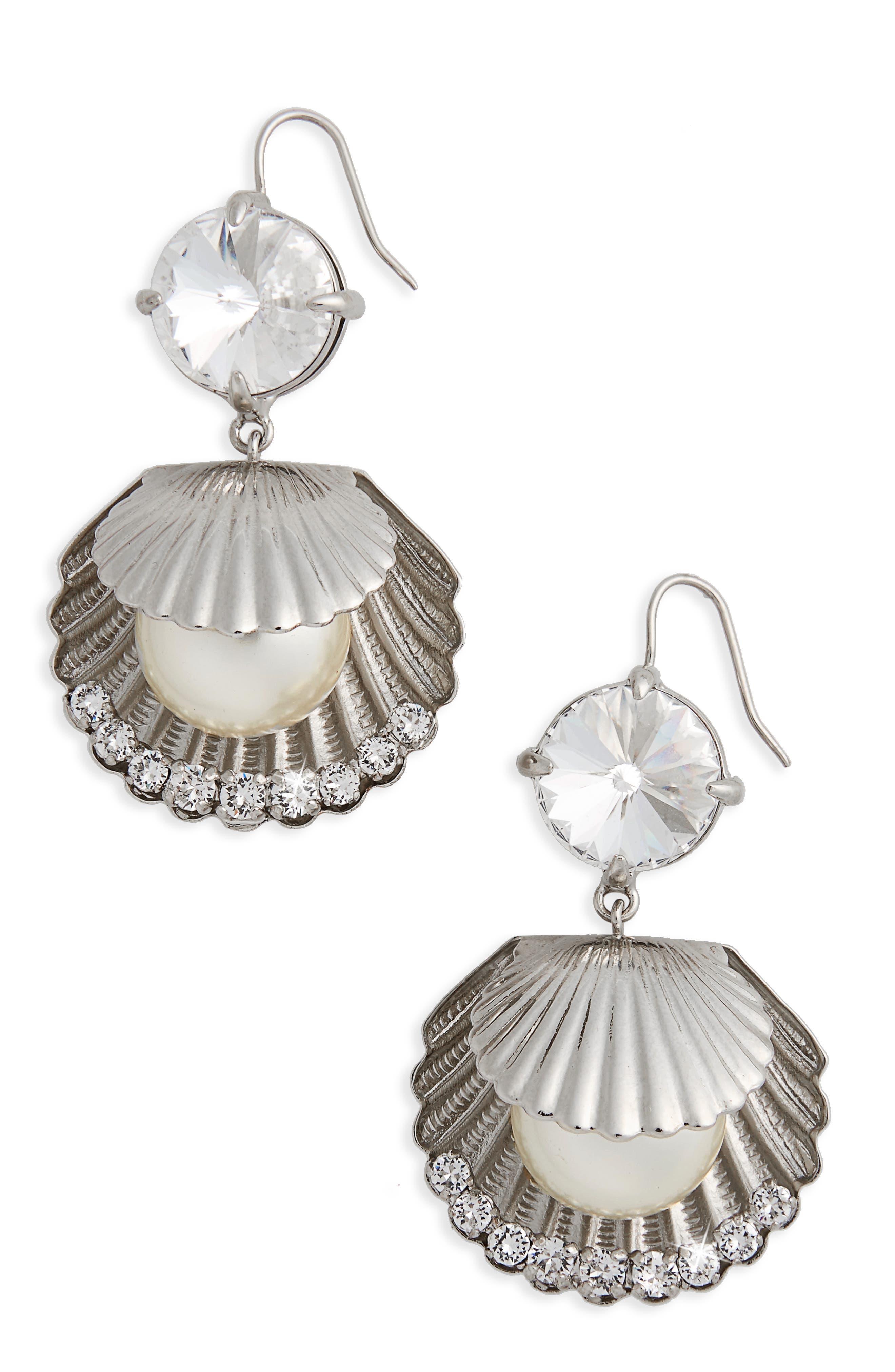 Shell Drop Earrings,                         Main,                         color, Pearl