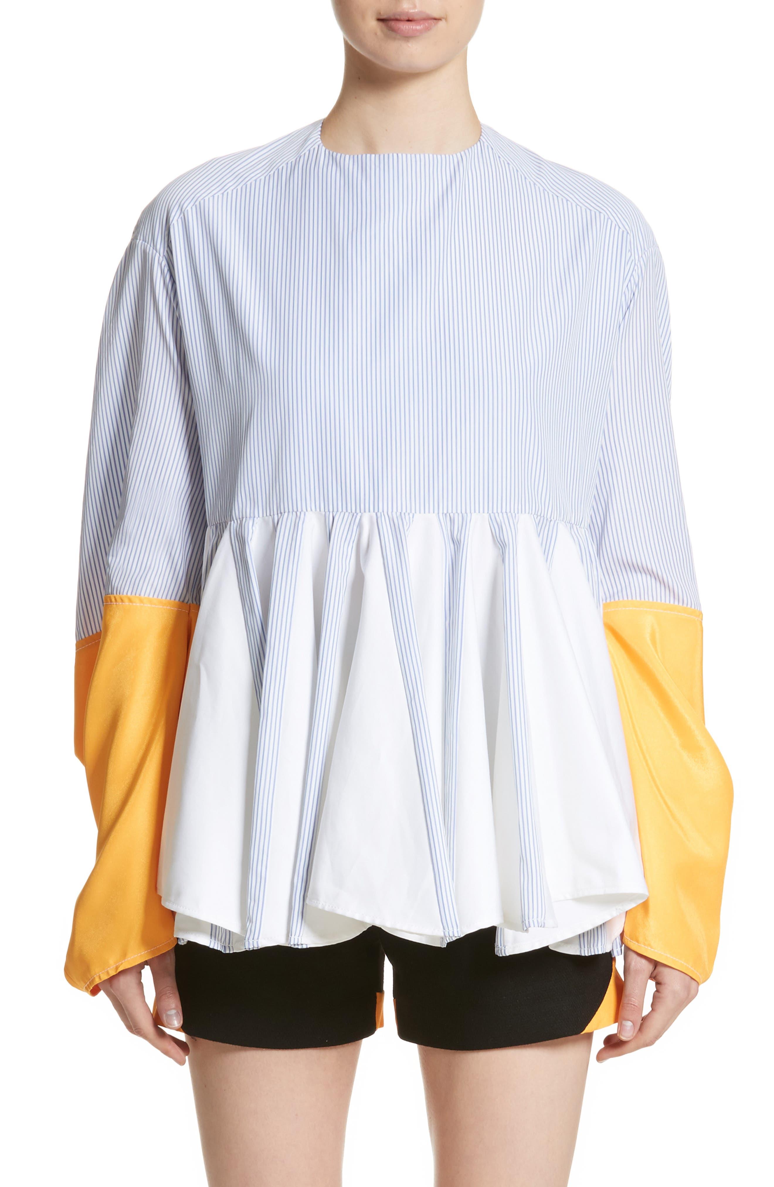 Godet Shirt,                         Main,                         color, Blue Stripes