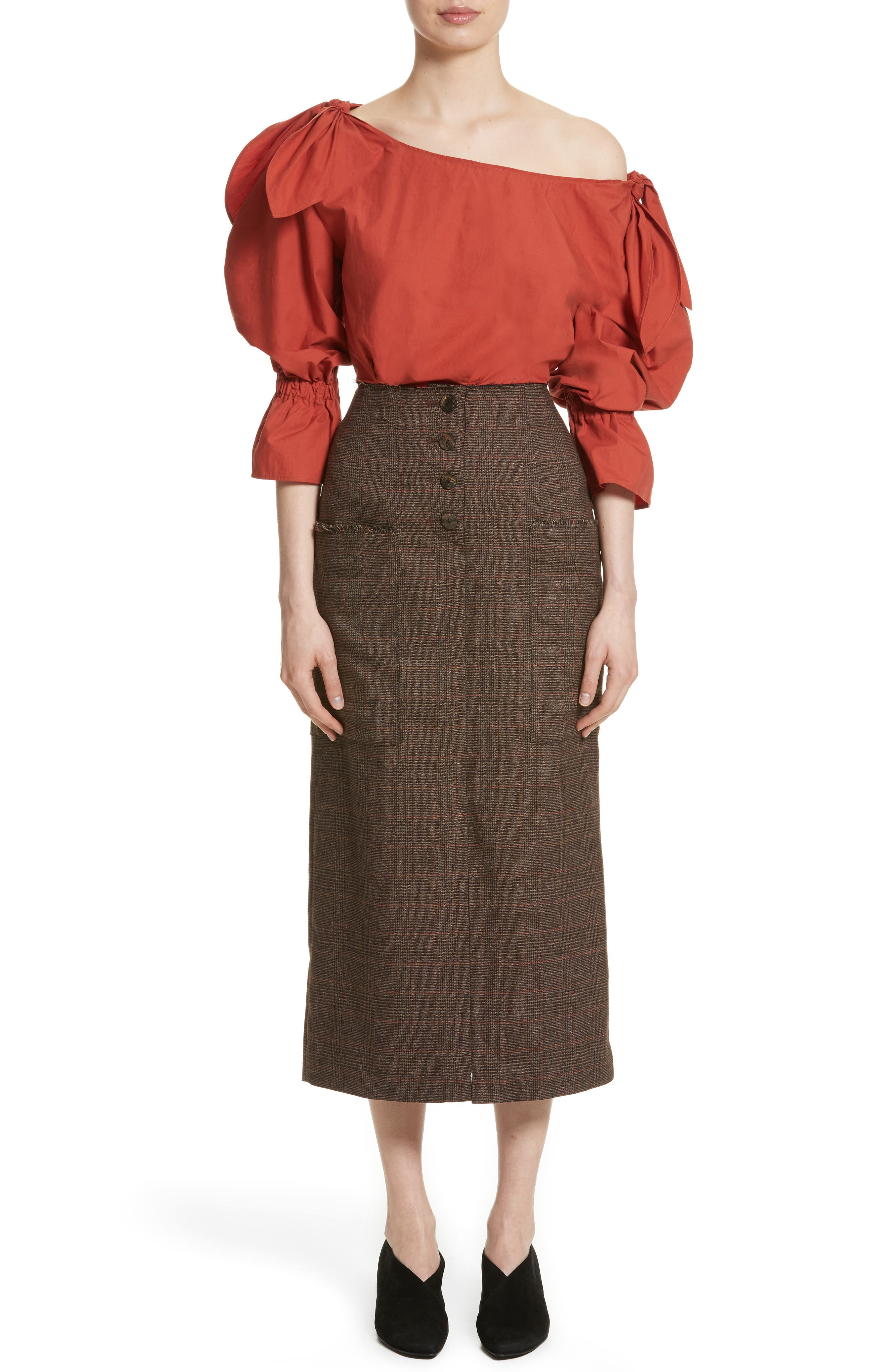 Michelle One-Shoulder Puff Sleeve Blouse,                             Alternate thumbnail 8, color,                             Rust