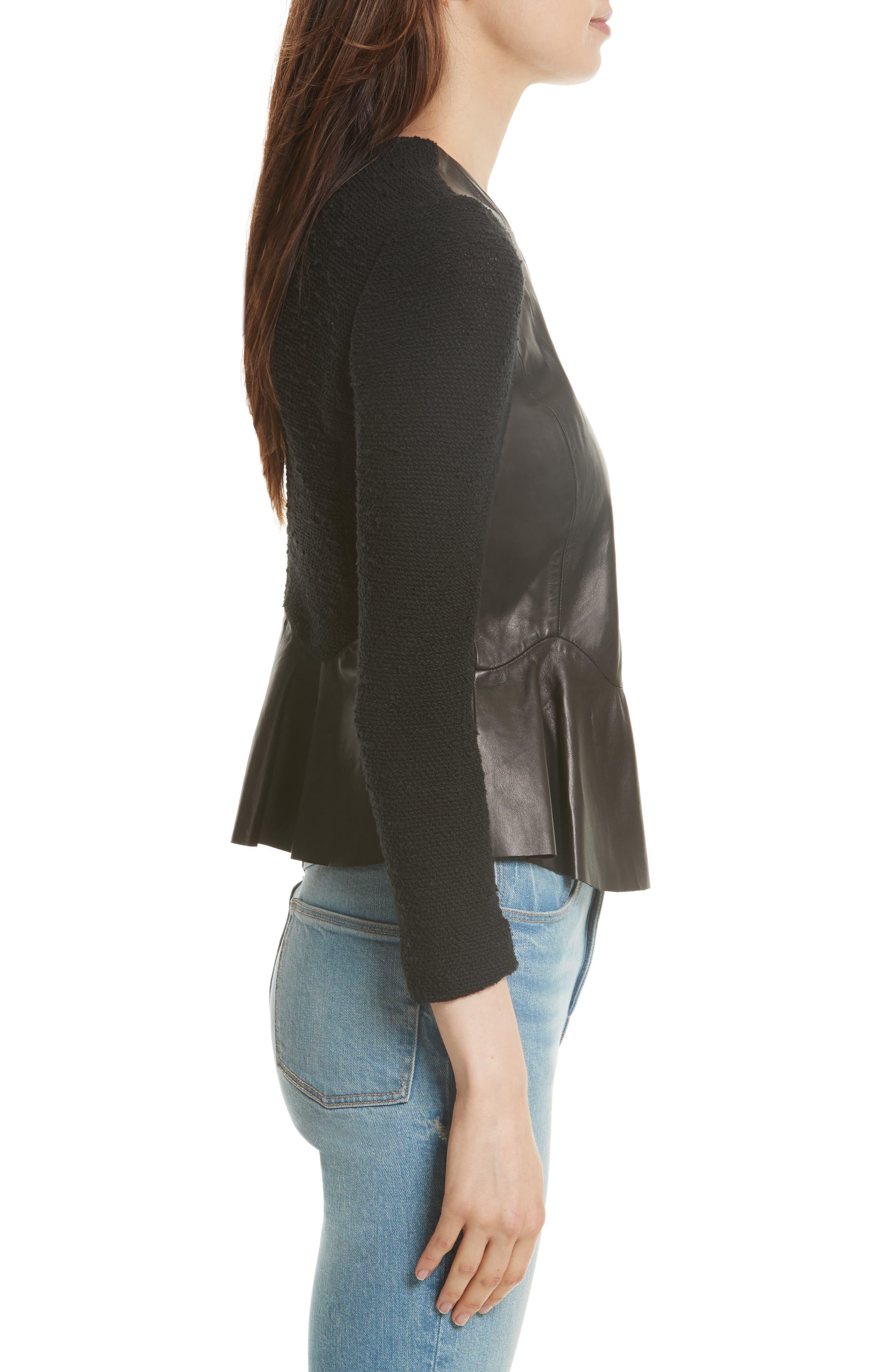 Knit & Lambskin Leather Jacket,                             Alternate thumbnail 3, color,                             Black