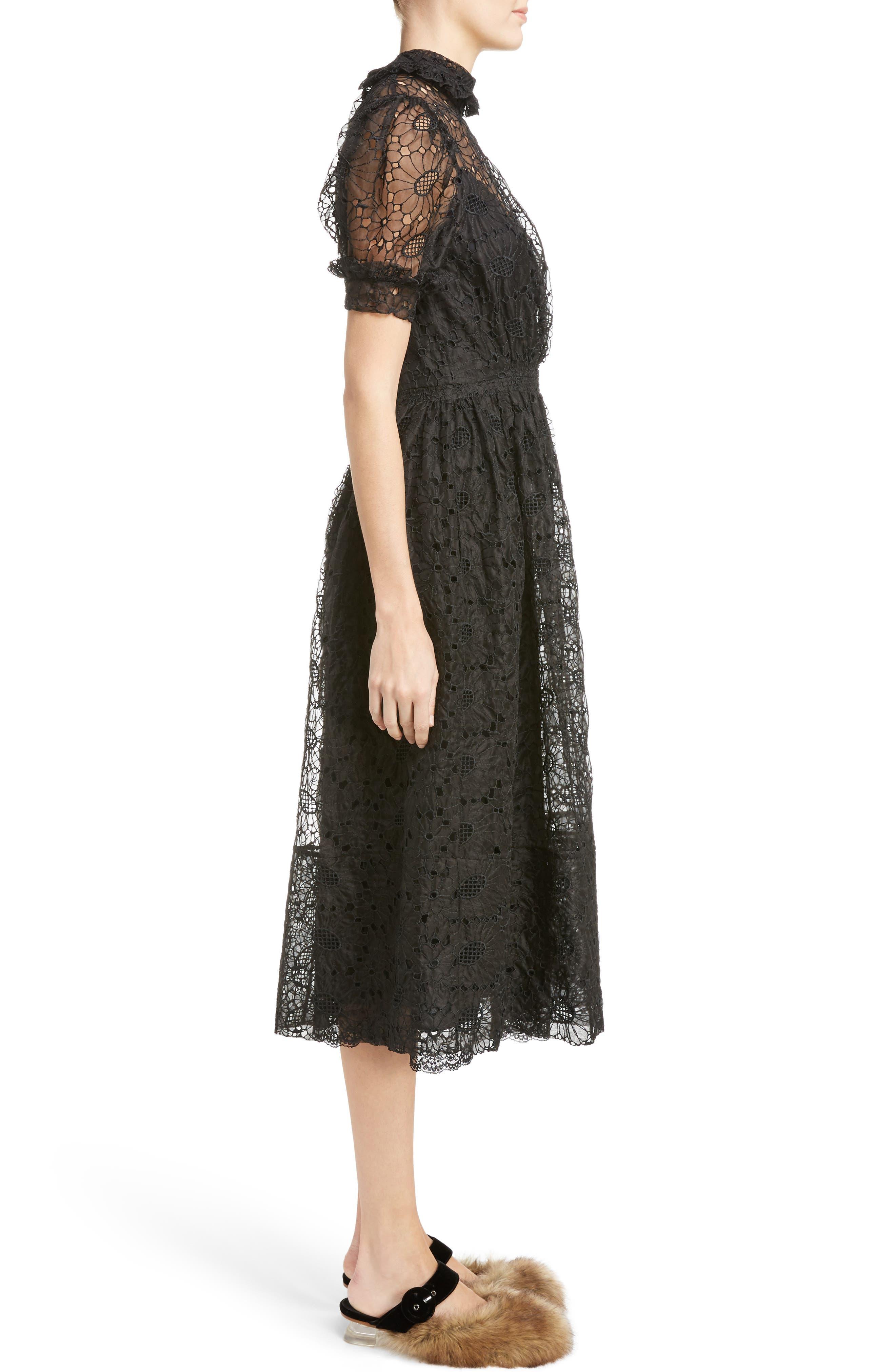 Alternate Image 3  - Simone Rocha Smocked Waist Floral Organza Dress