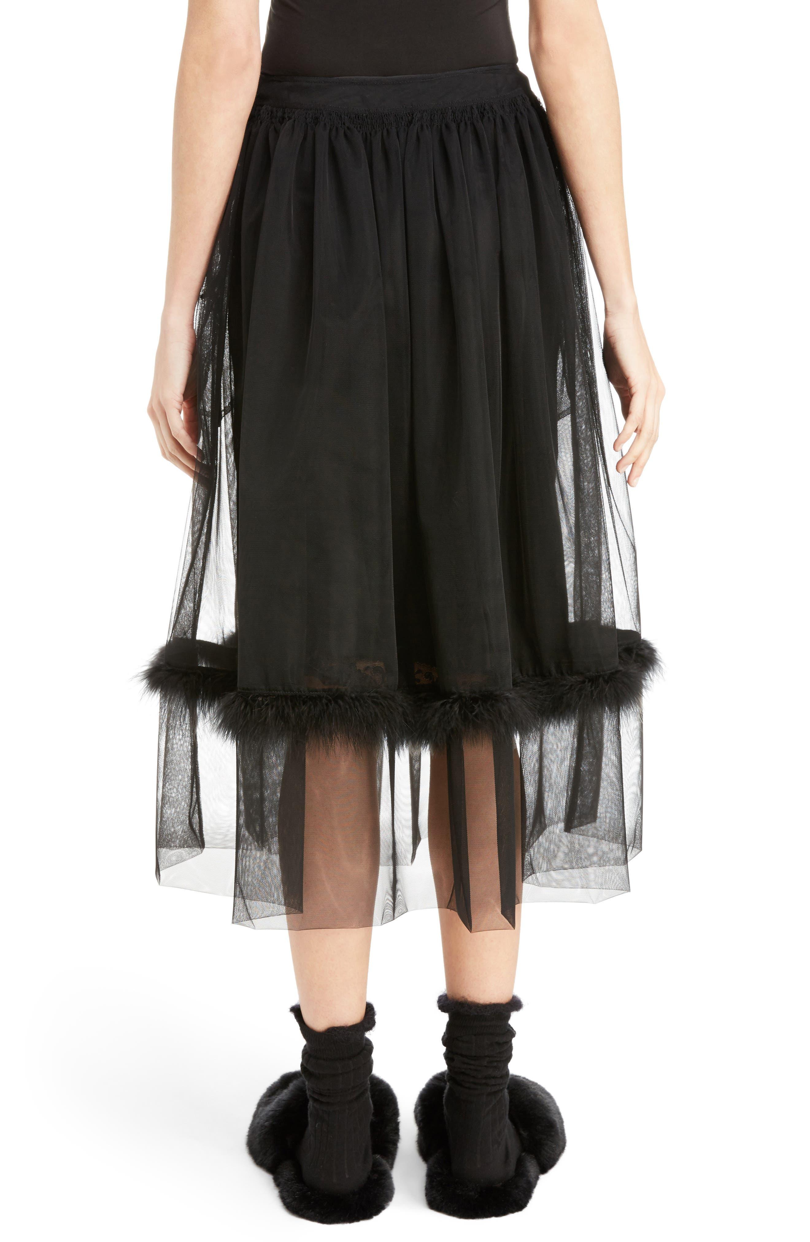 Marabou Trim Smock Waist Tulle Skirt,                             Alternate thumbnail 2, color,                             Black