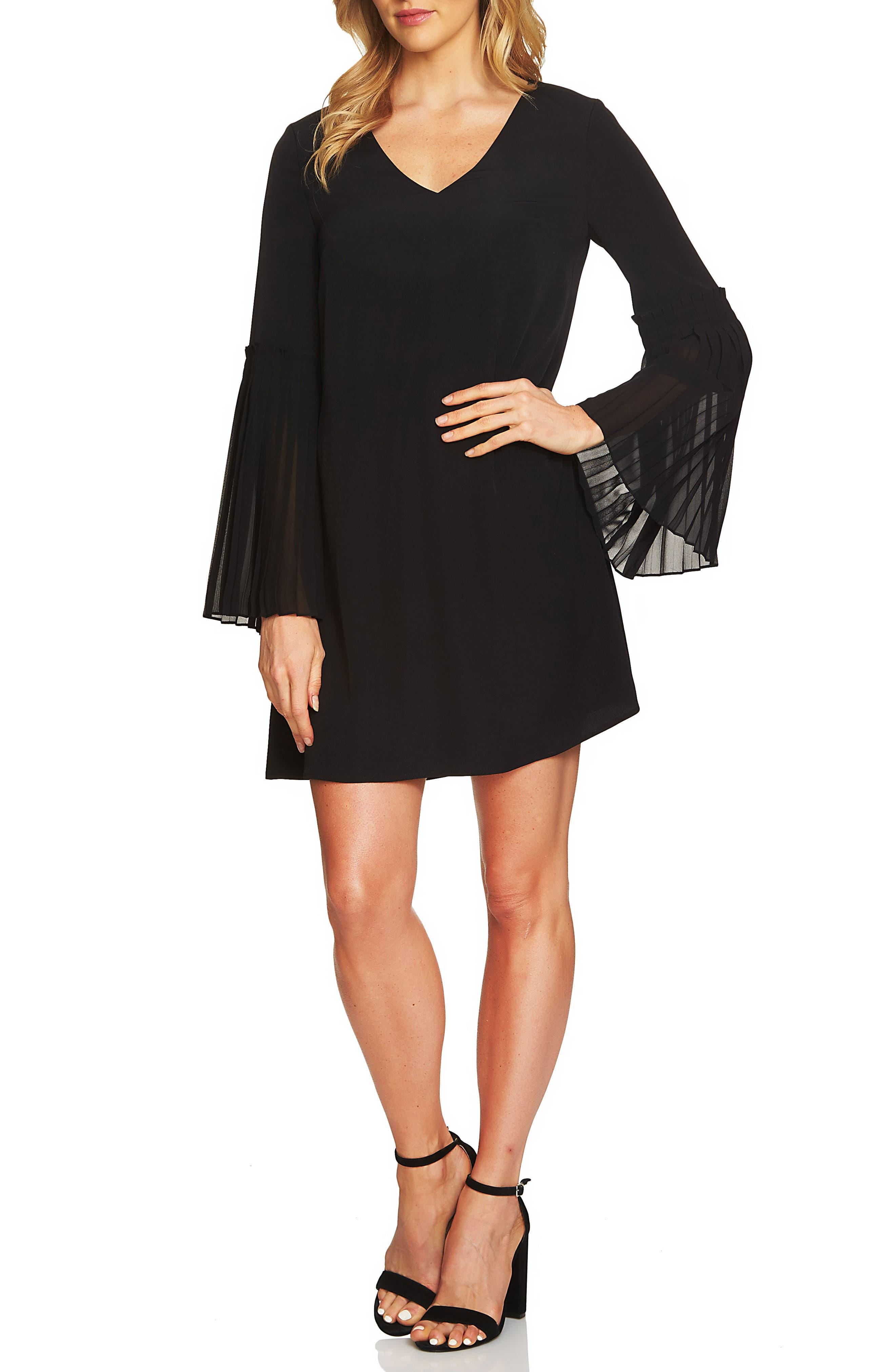 Madeline Bell Sleeve Shift Dress,                             Main thumbnail 1, color,                             Rich Black