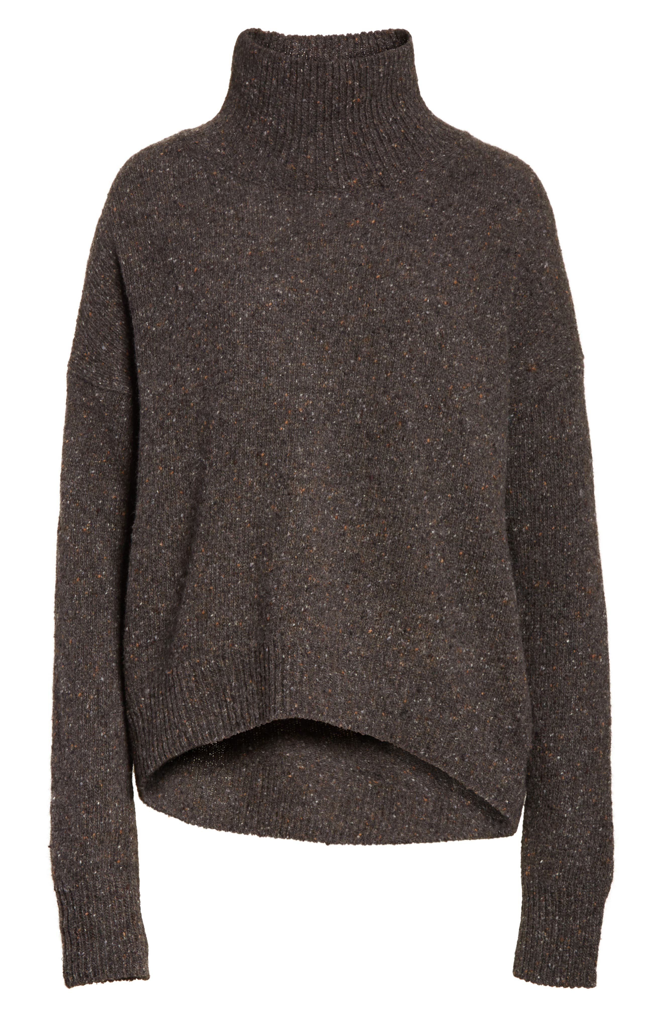 Cashmere Turtleneck Sweater,                             Alternate thumbnail 6, color,                             Charcoal