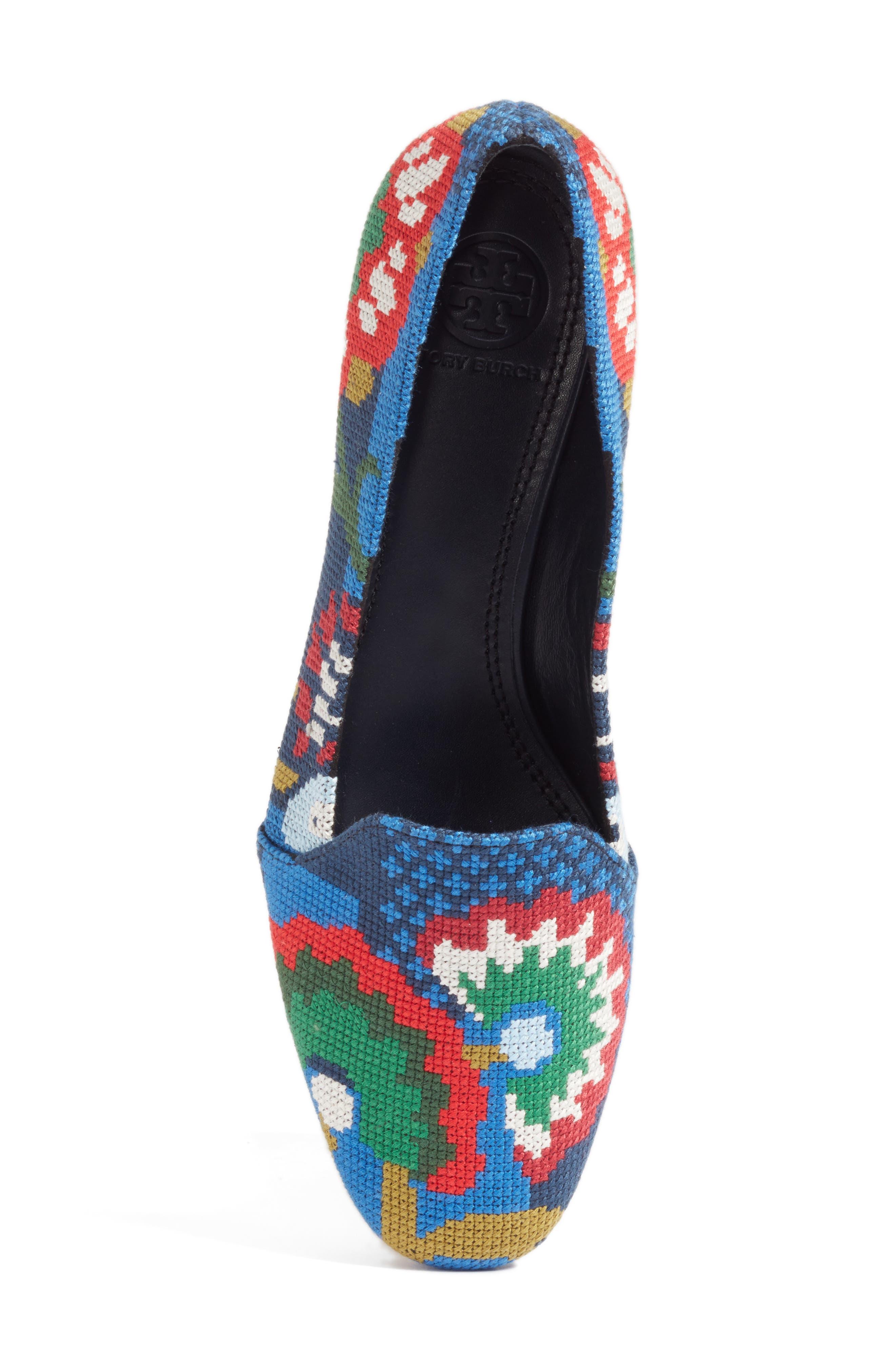 Alternate Image 5  - Tory Burch Sadie Floral Cross Stitch Loafer (Women)