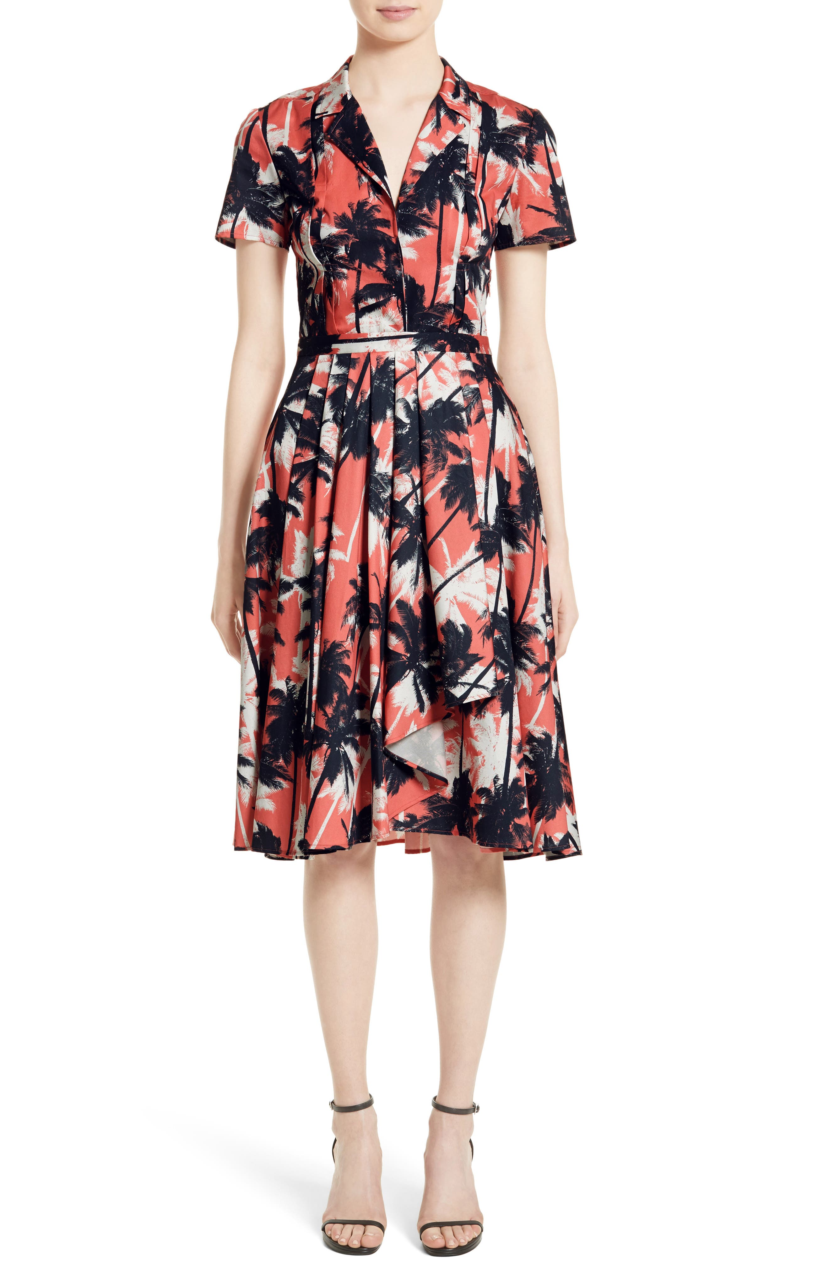 Jason Wu Print Cotton Fit & Flare Shirtdress
