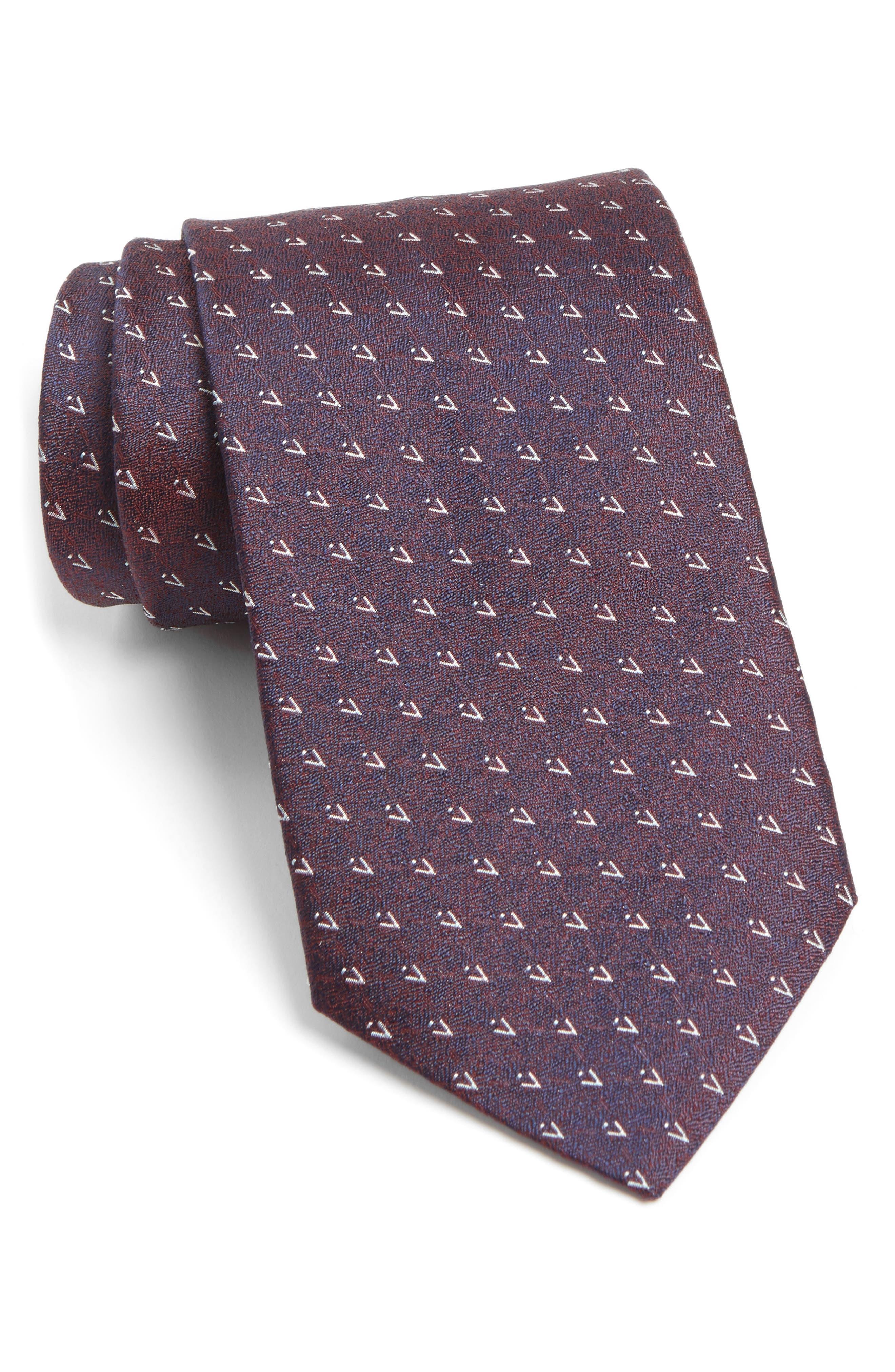 Geometric Silk Tie,                             Main thumbnail 1, color,                             Pinot Noir