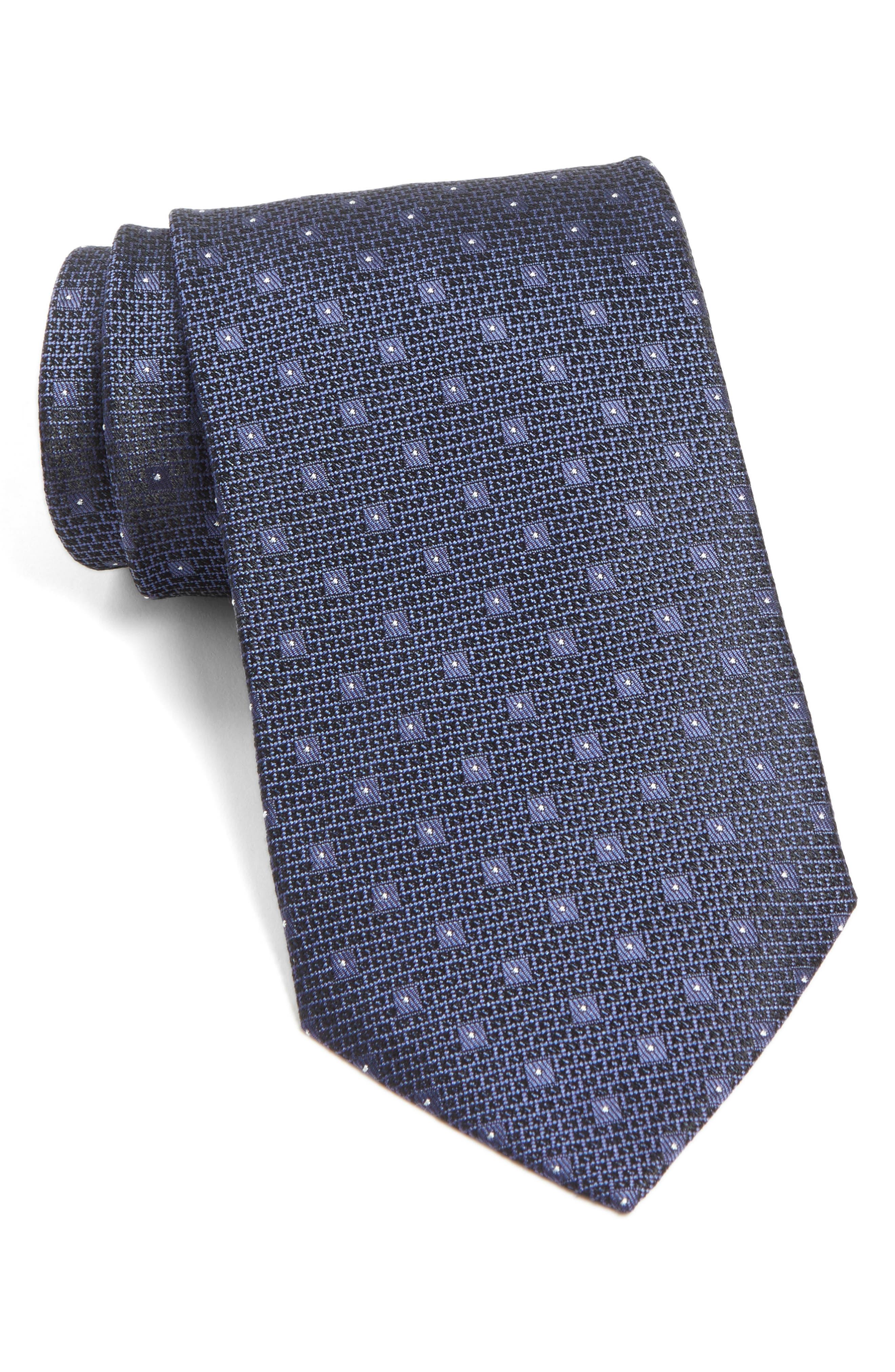 Dot Silk Tie,                         Main,                         color, Eclipse Heather