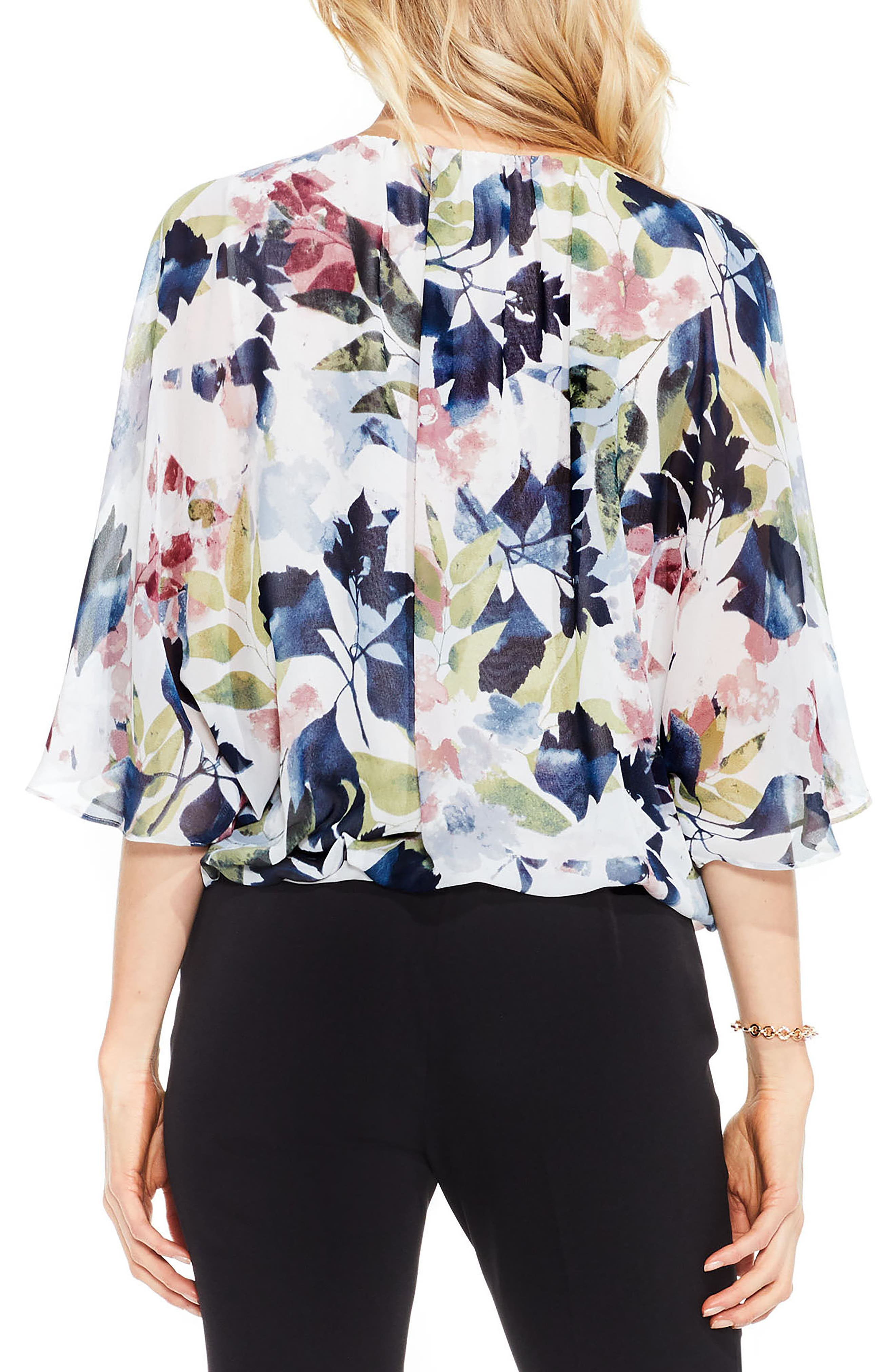 Alternate Image 2  - Vince Camuto Garden Expressions Batwing Crepe Top
