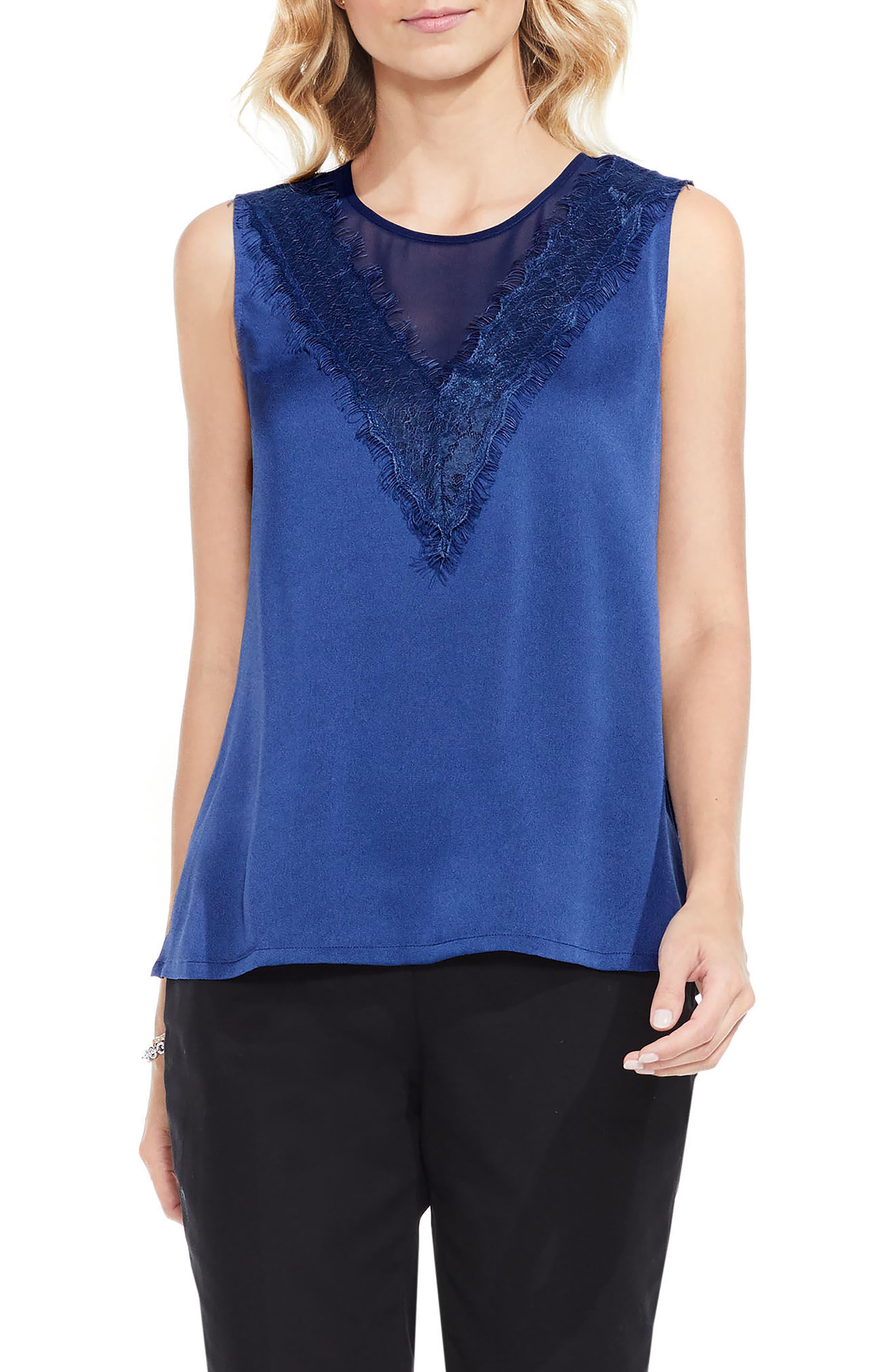 Lace Trim Blouse,                         Main,                         color, Base Blue