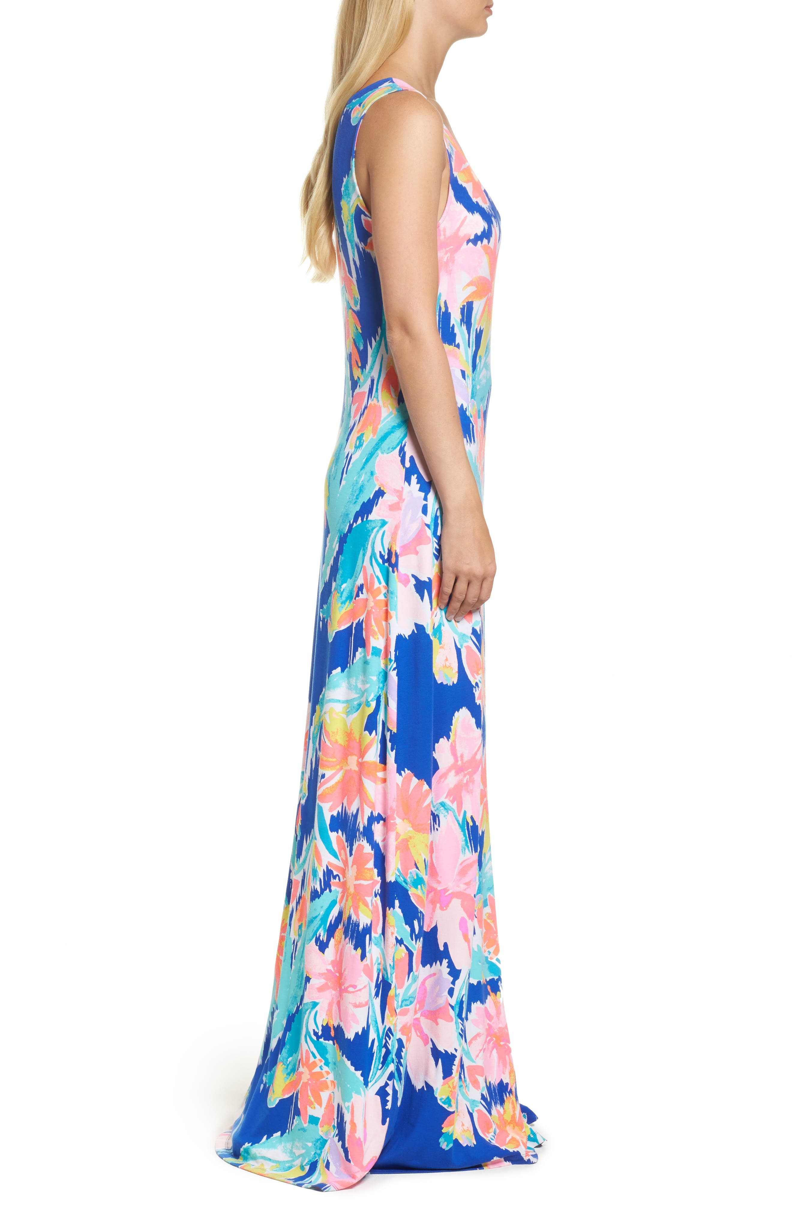 Natalia Maxi Dress,                             Alternate thumbnail 3, color,                             Blue Current