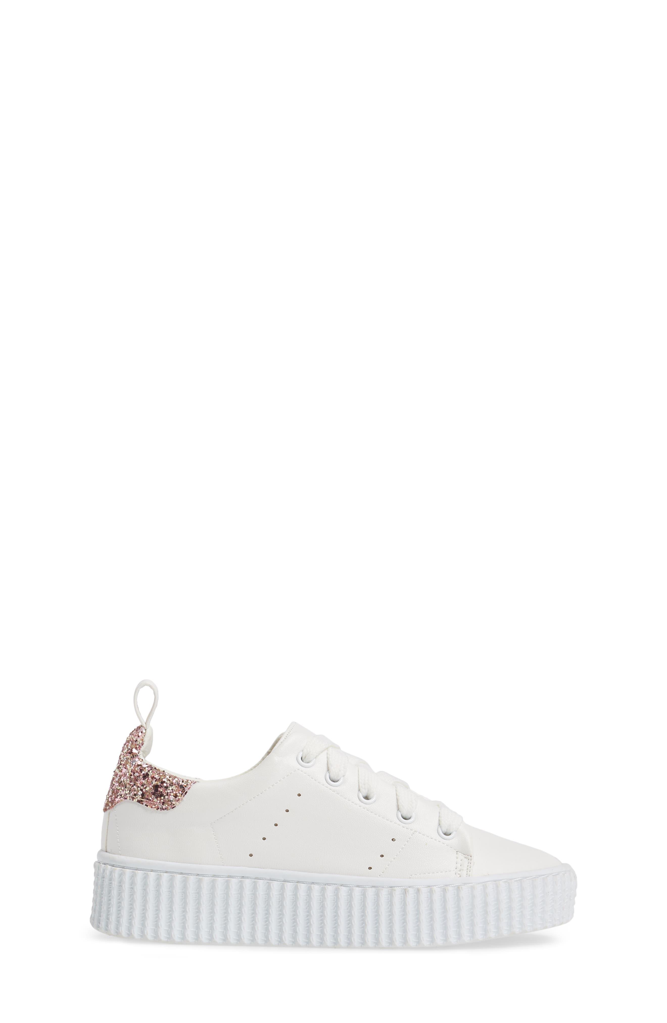 Wren Glitter Heel Sneaker,                             Alternate thumbnail 3, color,                             White