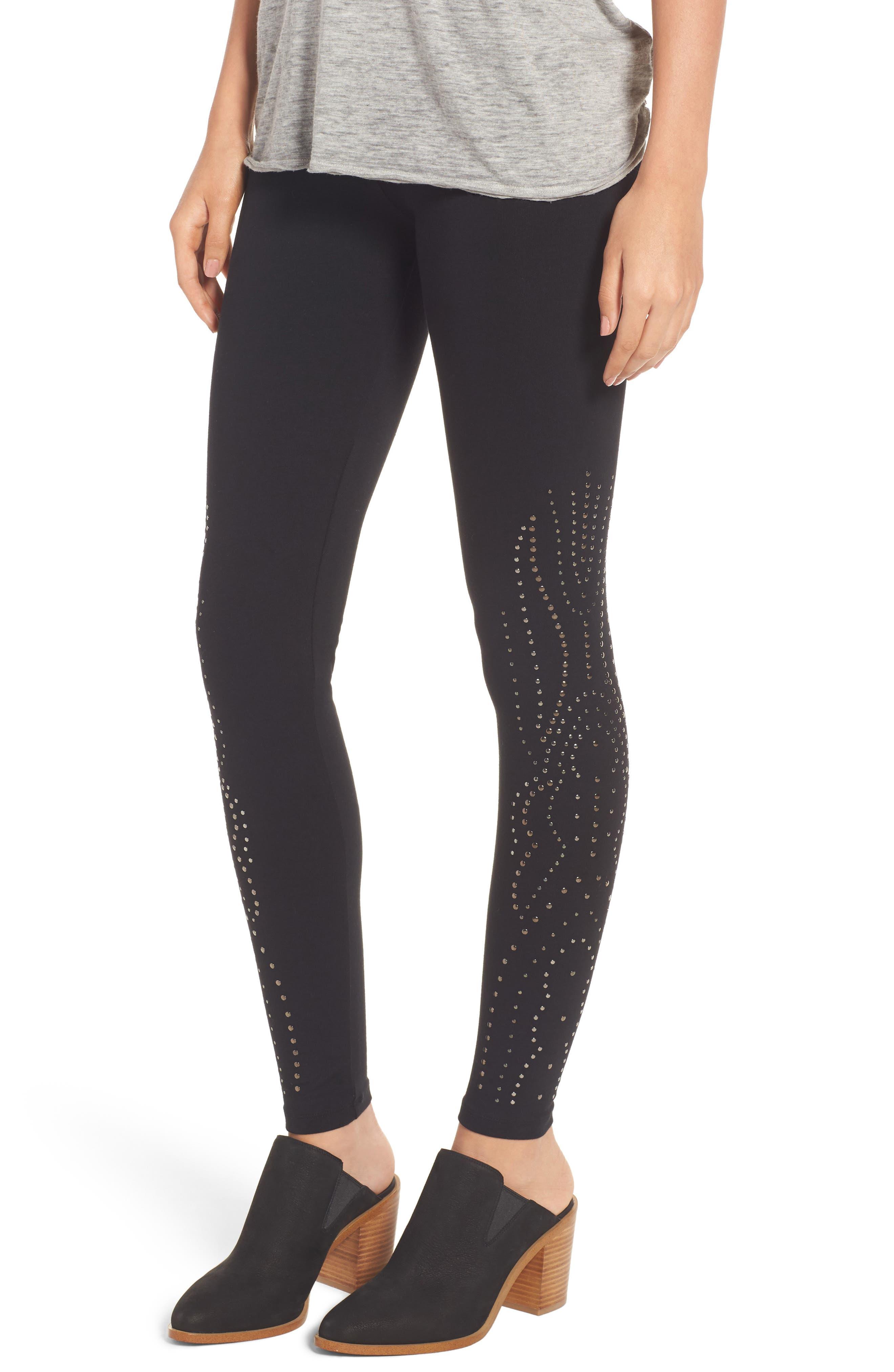 Studded Leggings,                         Main,                         color, Black