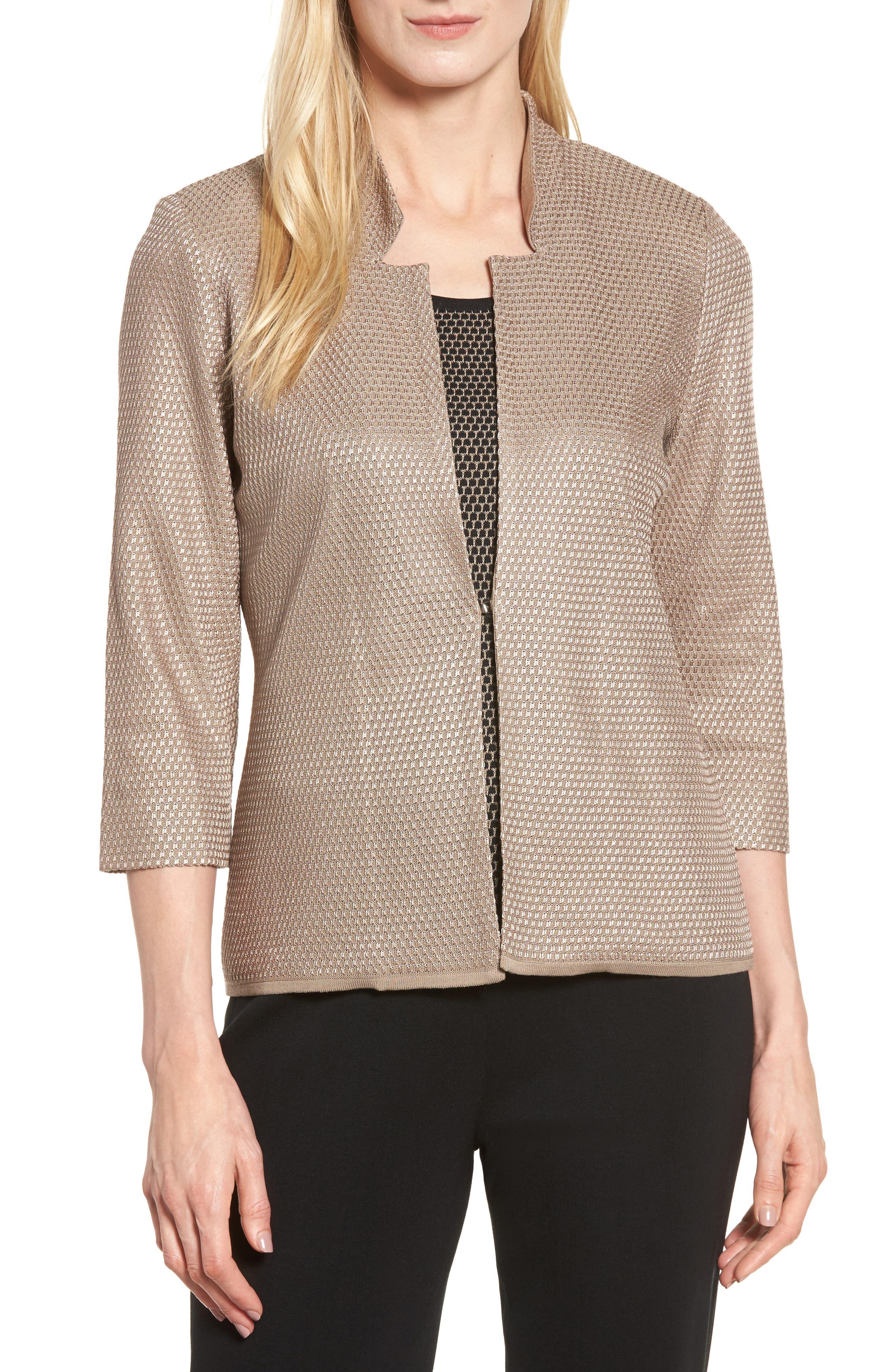 Textured Knit Jacket,                         Main,                         color, Ash/ Black