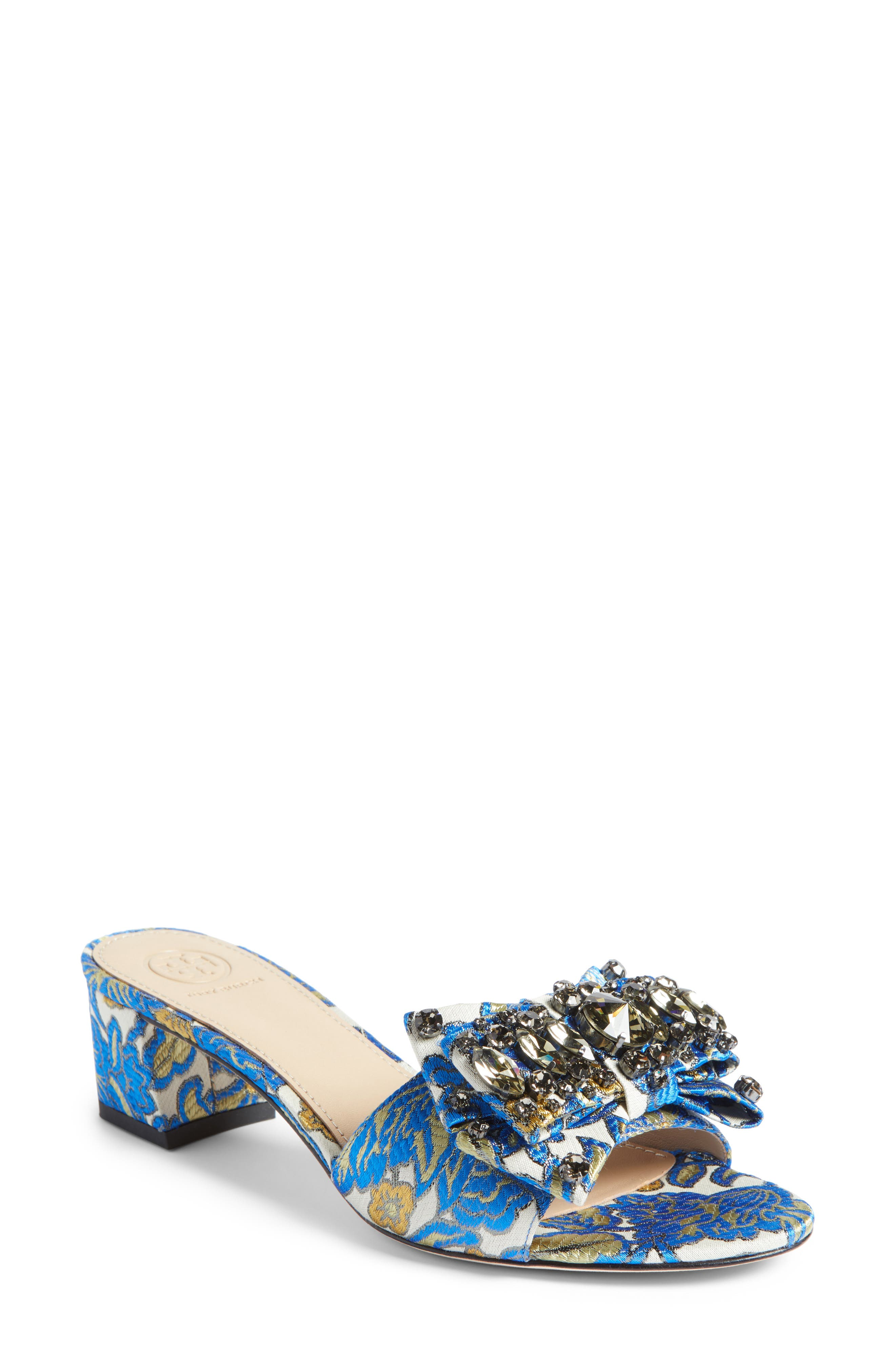 Tory Burch Valentina Embellished Bow Slide Sandal (Women)