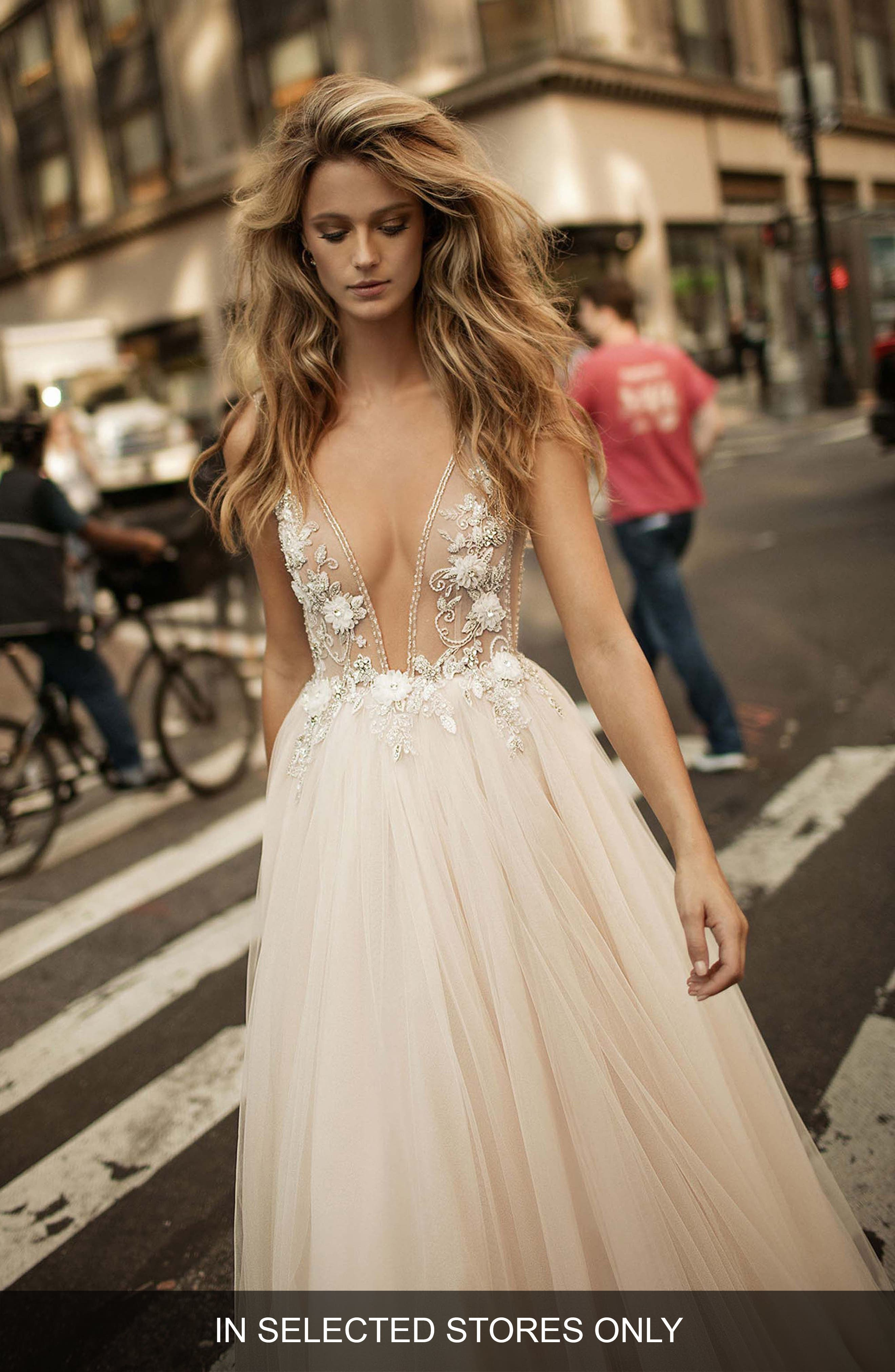 Embellished Plunging V-Neck Tulle Gown,                             Main thumbnail 1, color,                             Blush