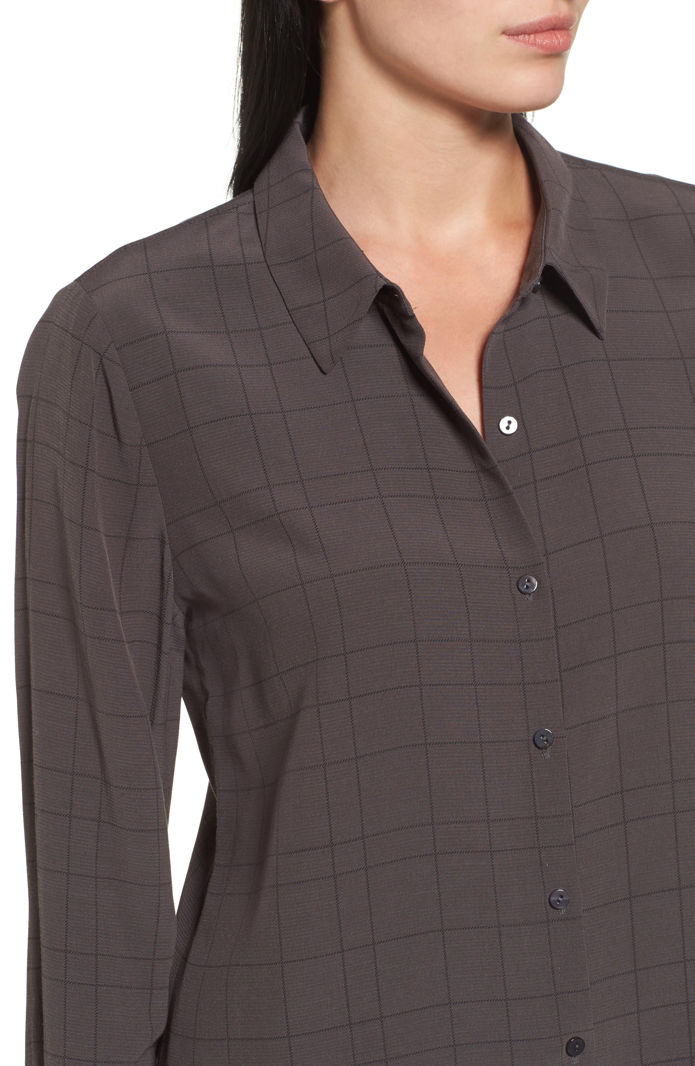 Alternate Image 4  - Eileen Fisher Windowpane Classic Collar Shirt