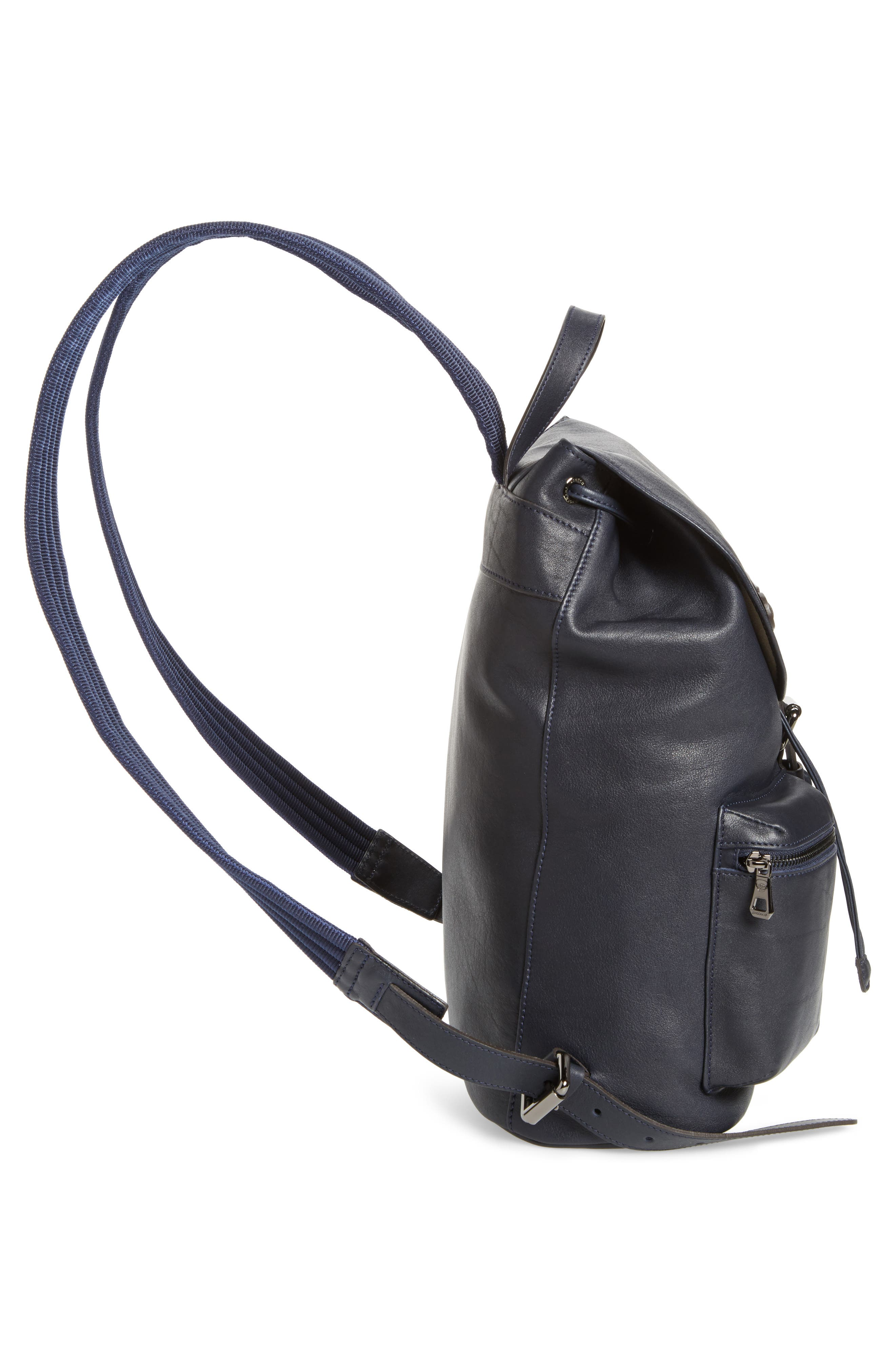 3D Leather Backpack,                             Alternate thumbnail 4, color,                             Midnight Blue