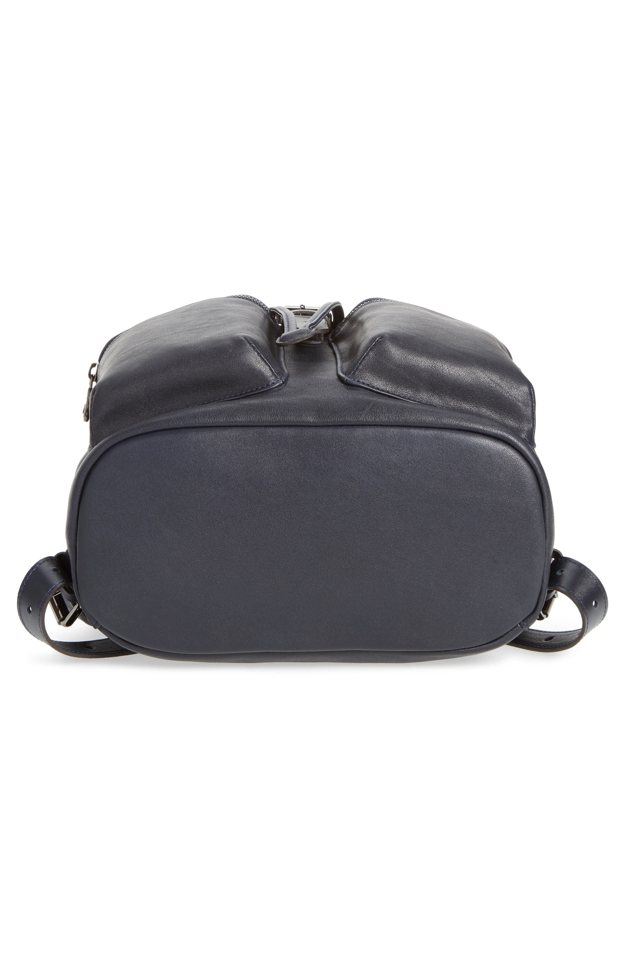 3D Leather Backpack,                             Alternate thumbnail 5, color,                             Midnight Blue