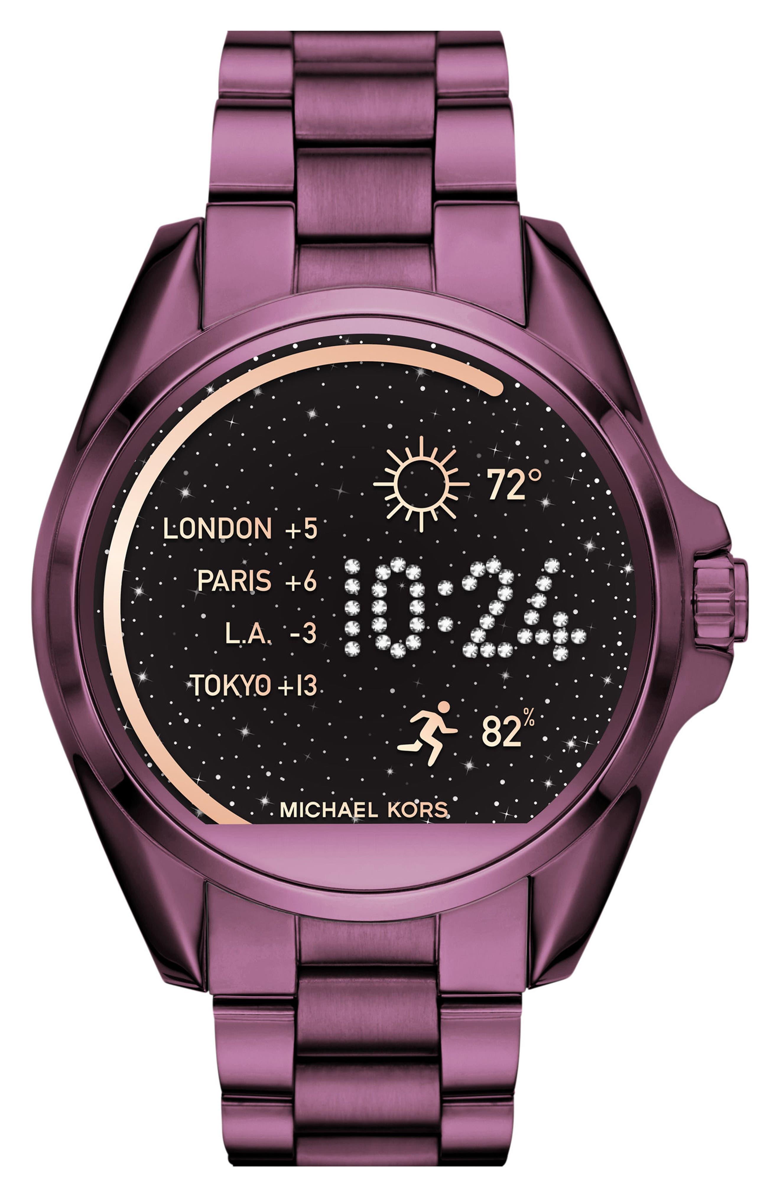 MICHAEL Michael Kors Bradshaw Access Bracelet Smart Watch, 45mm,                             Main thumbnail 1, color,                             Plum