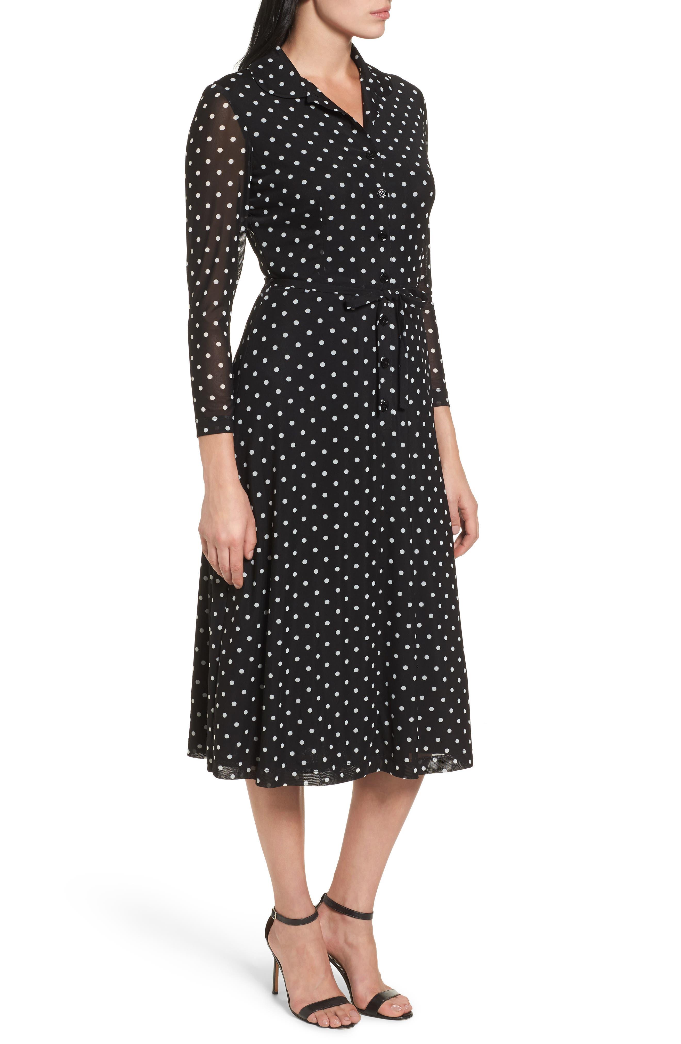 Polka Dot Shirt Dress,                             Alternate thumbnail 3, color,                             Black/ White