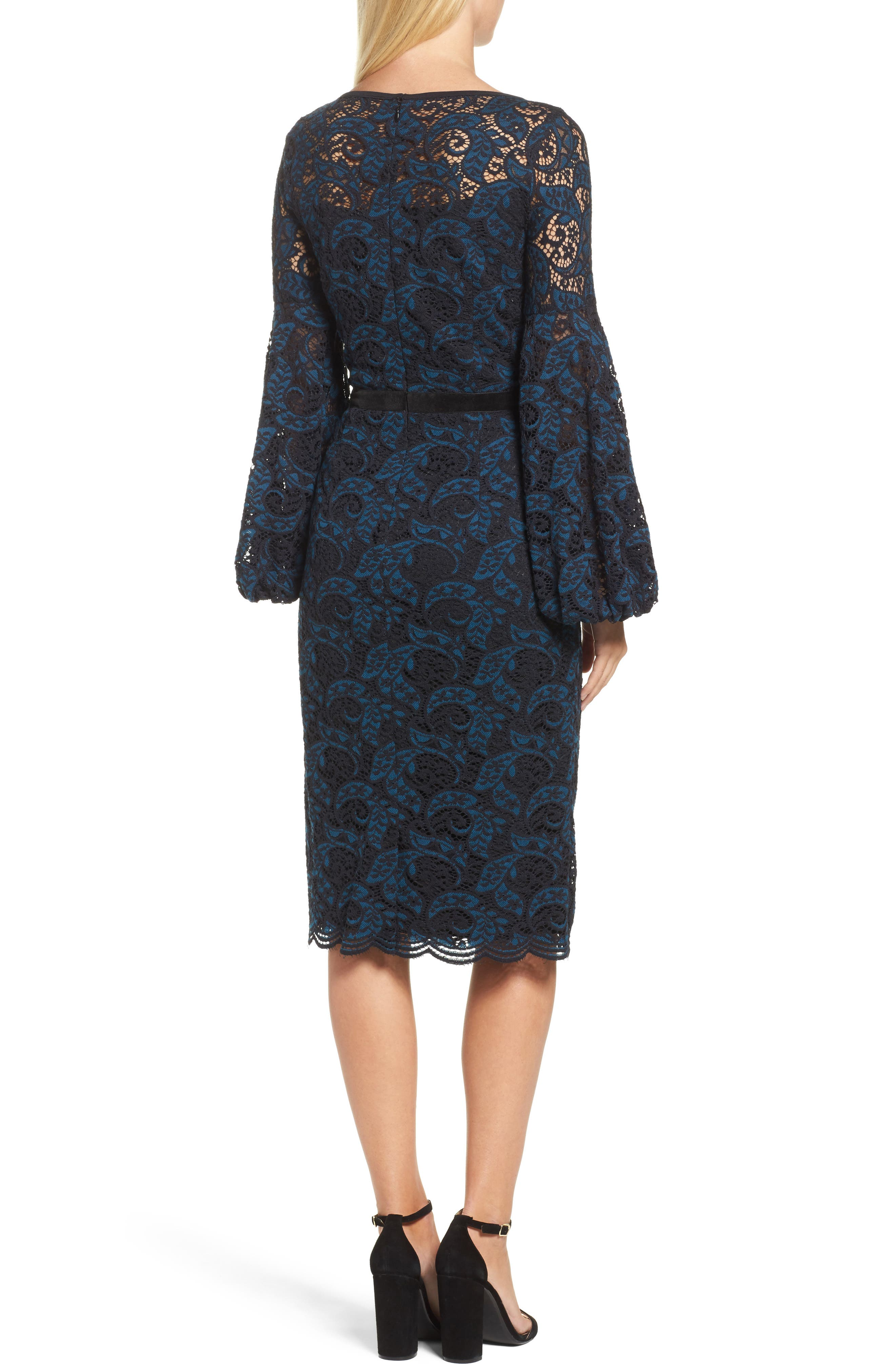Lace Bishop Sleeve Dress,                             Alternate thumbnail 2, color,                             Blue/ Black