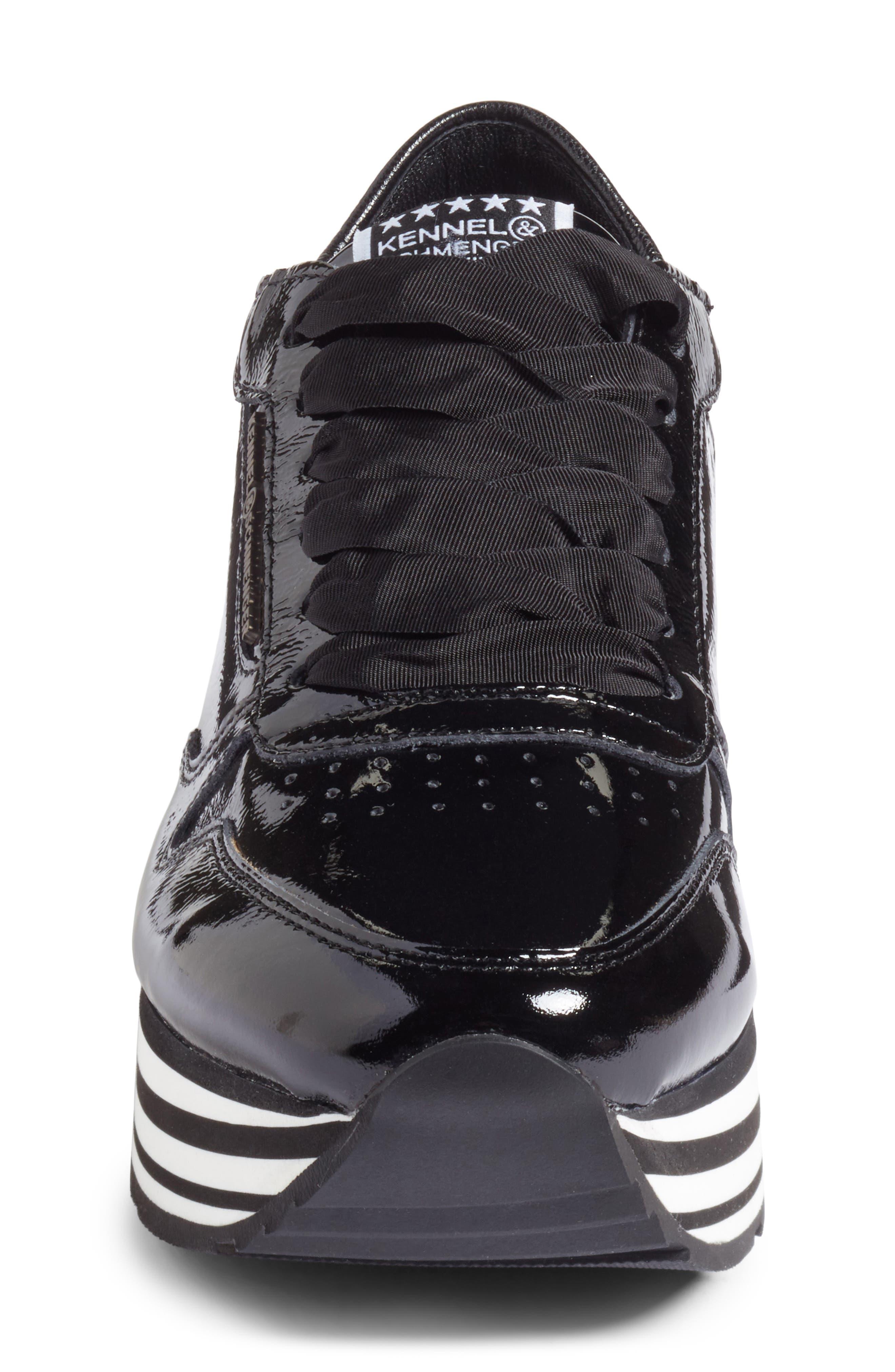 Kennel & Schmenger Nova Patent Leather Sneaker,                             Alternate thumbnail 4, color,                             Black