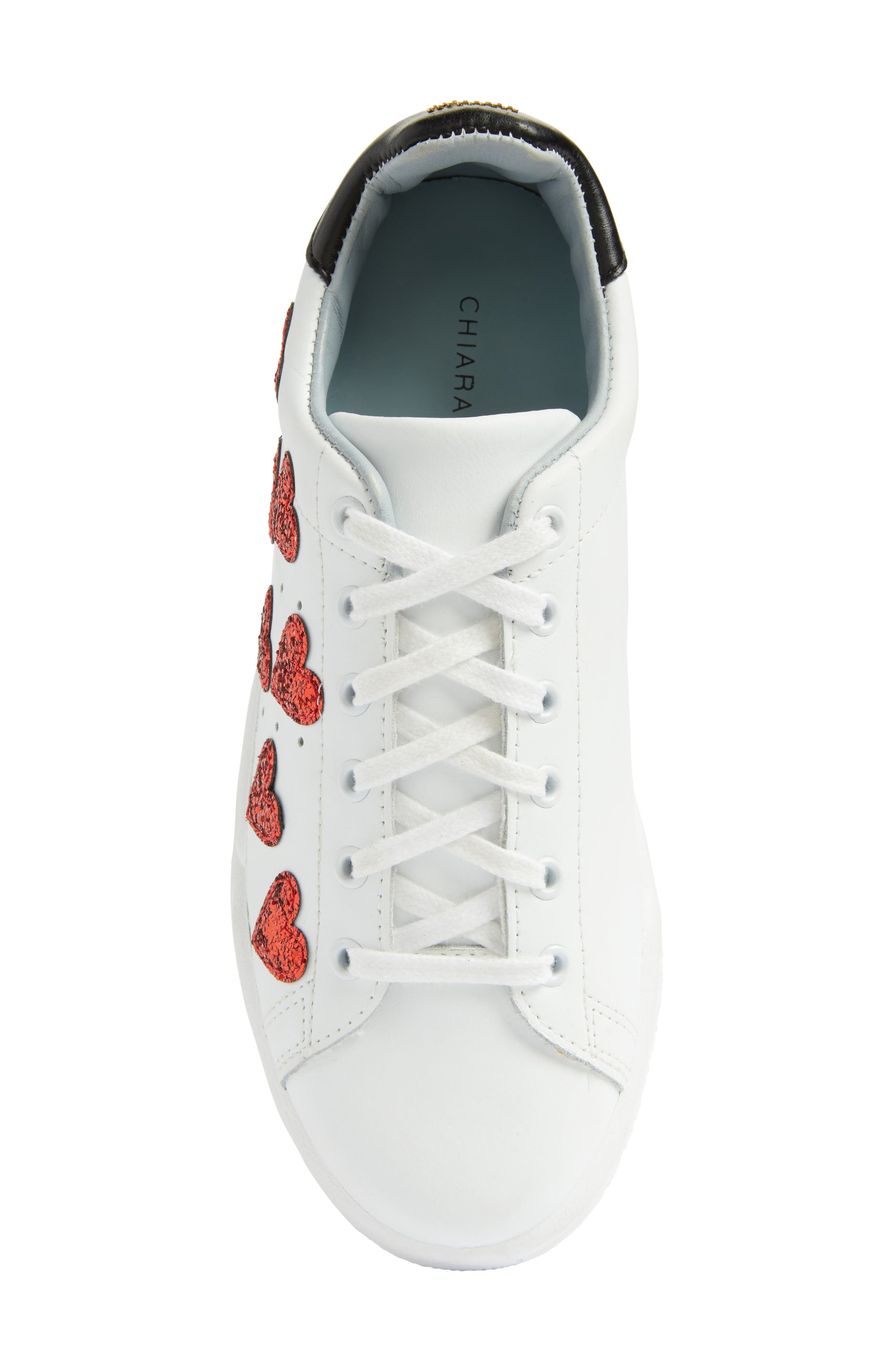 Hearts Roger Sneaker,                             Alternate thumbnail 5, color,                             White/ Red