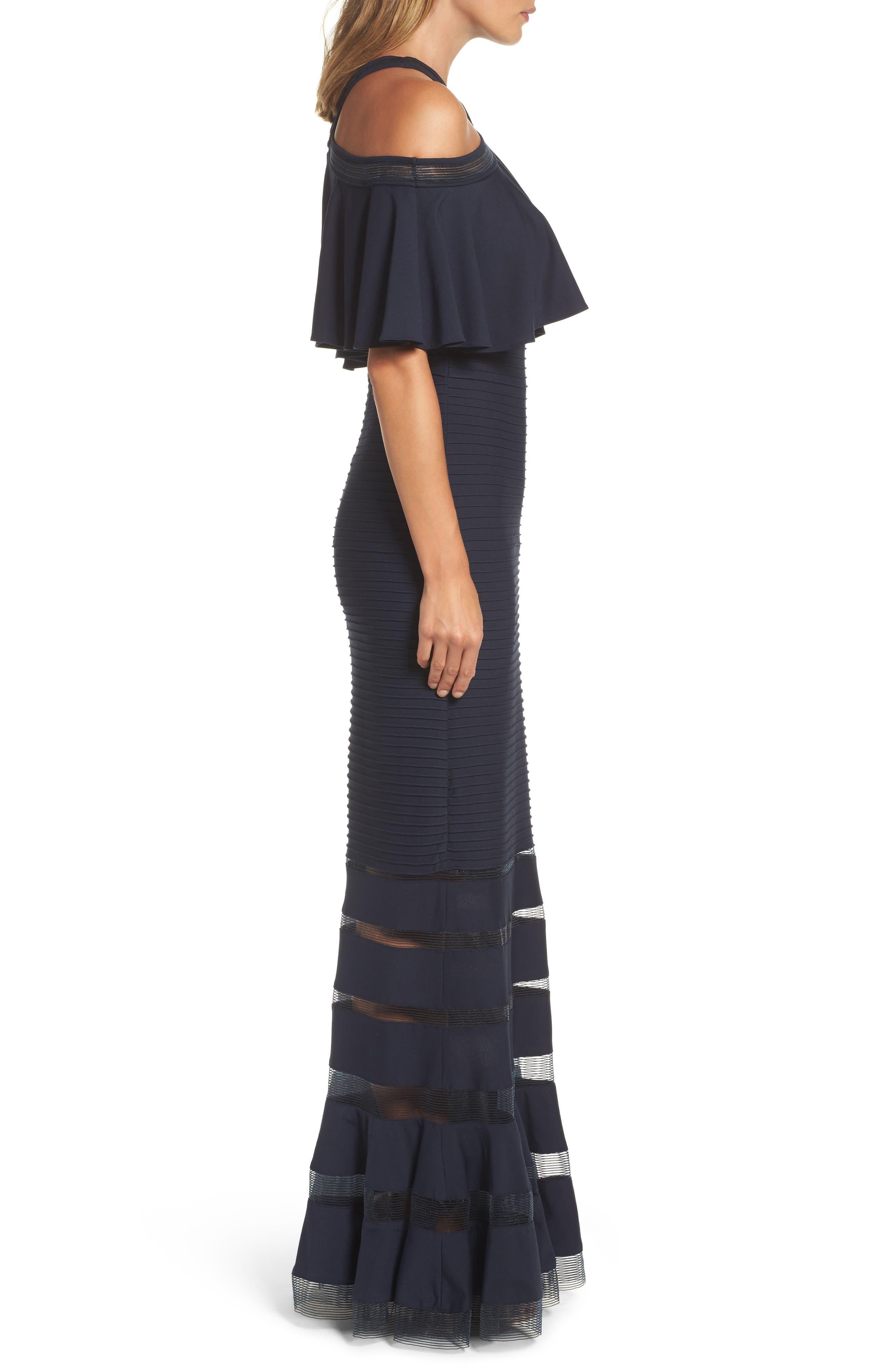 Alternate Image 3  - Tadashi Shoji Jersey Cold-Shoulder Gown (Regular & Petite)