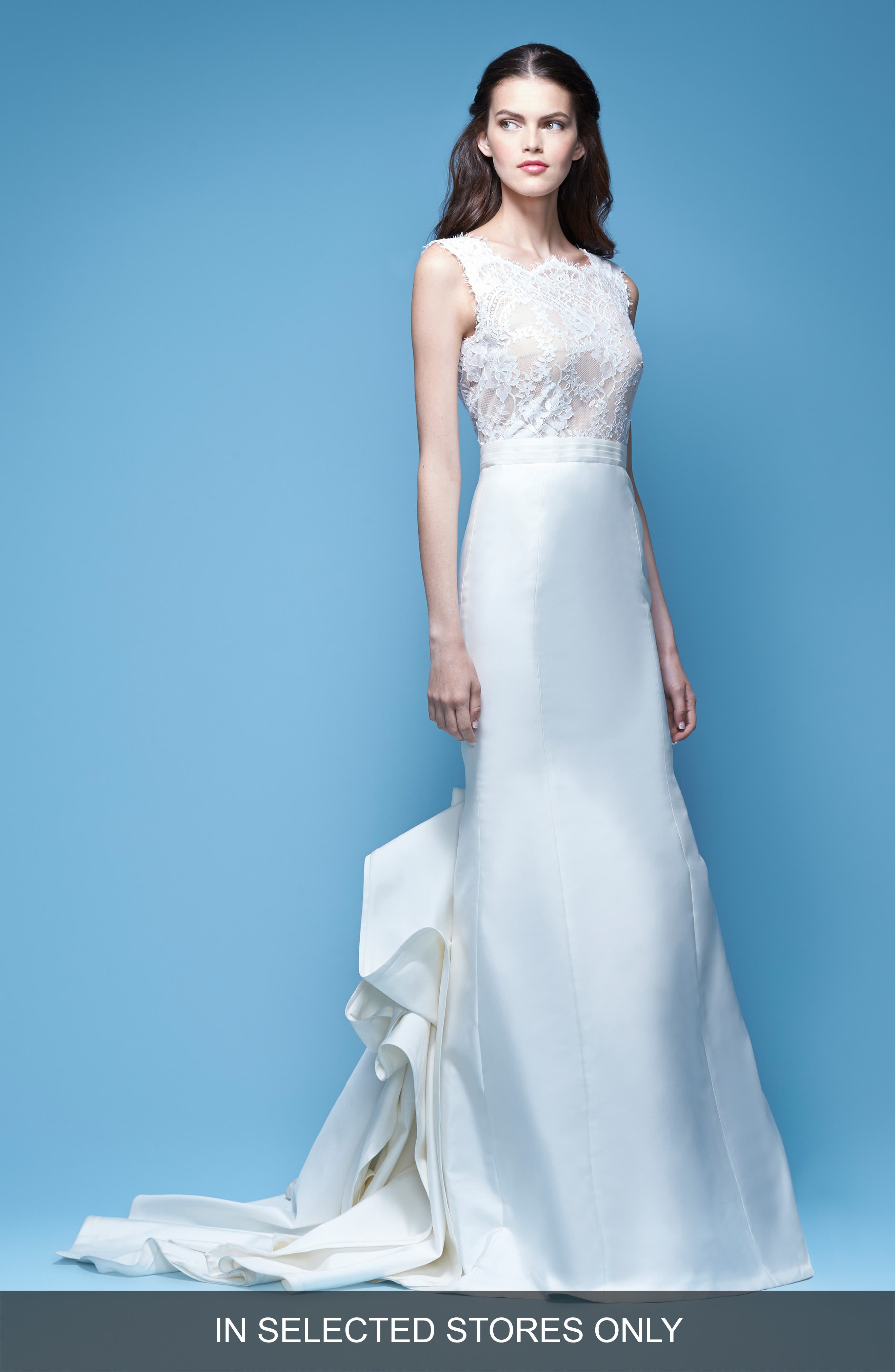 Carolina Herrera Josette Sleeveless Lace & Mikado Mermaid Gown with Origami Fold Train (In Selected Stores Only)