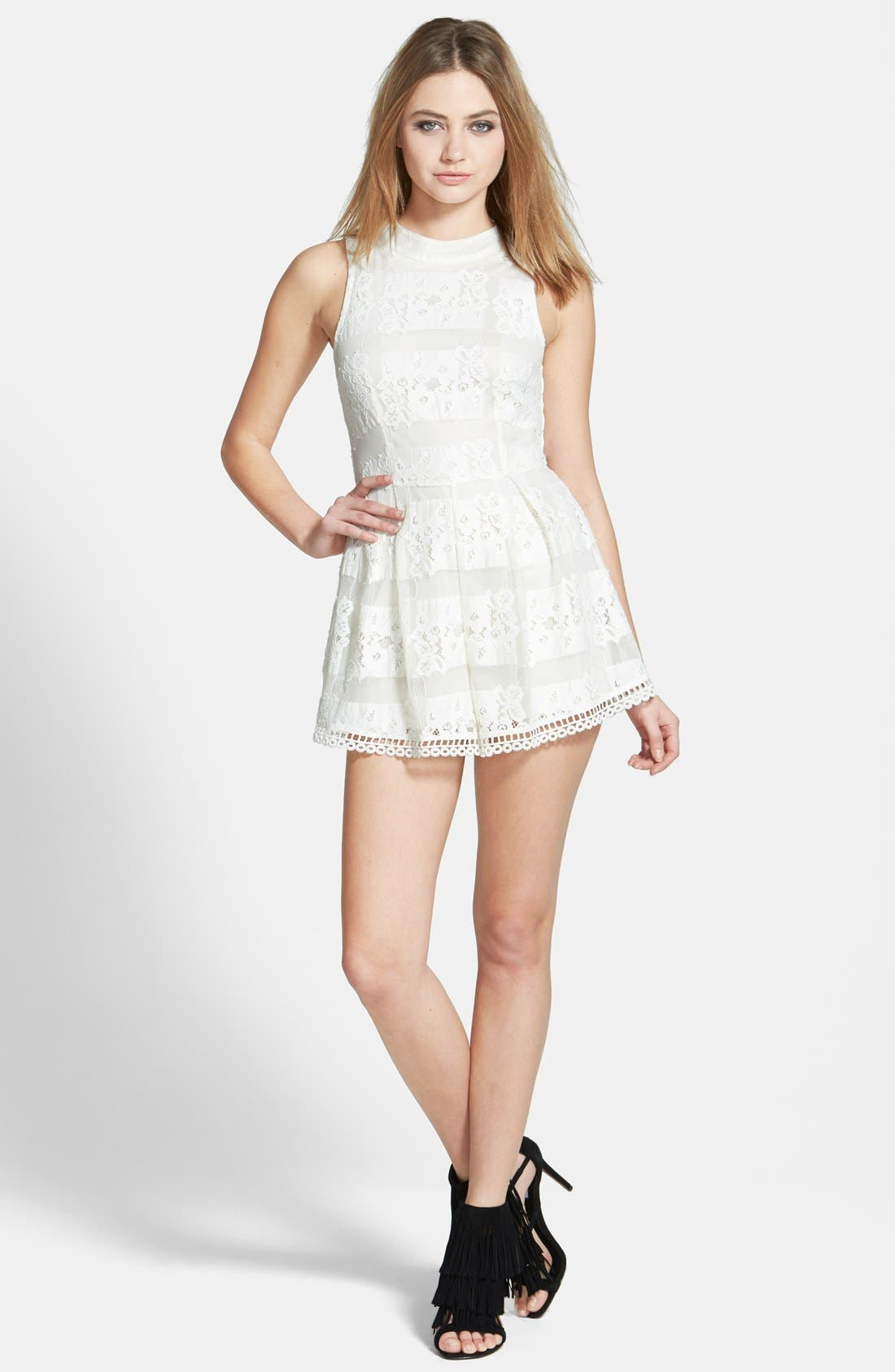 Main Image - ASTR High Neck Lace Romper