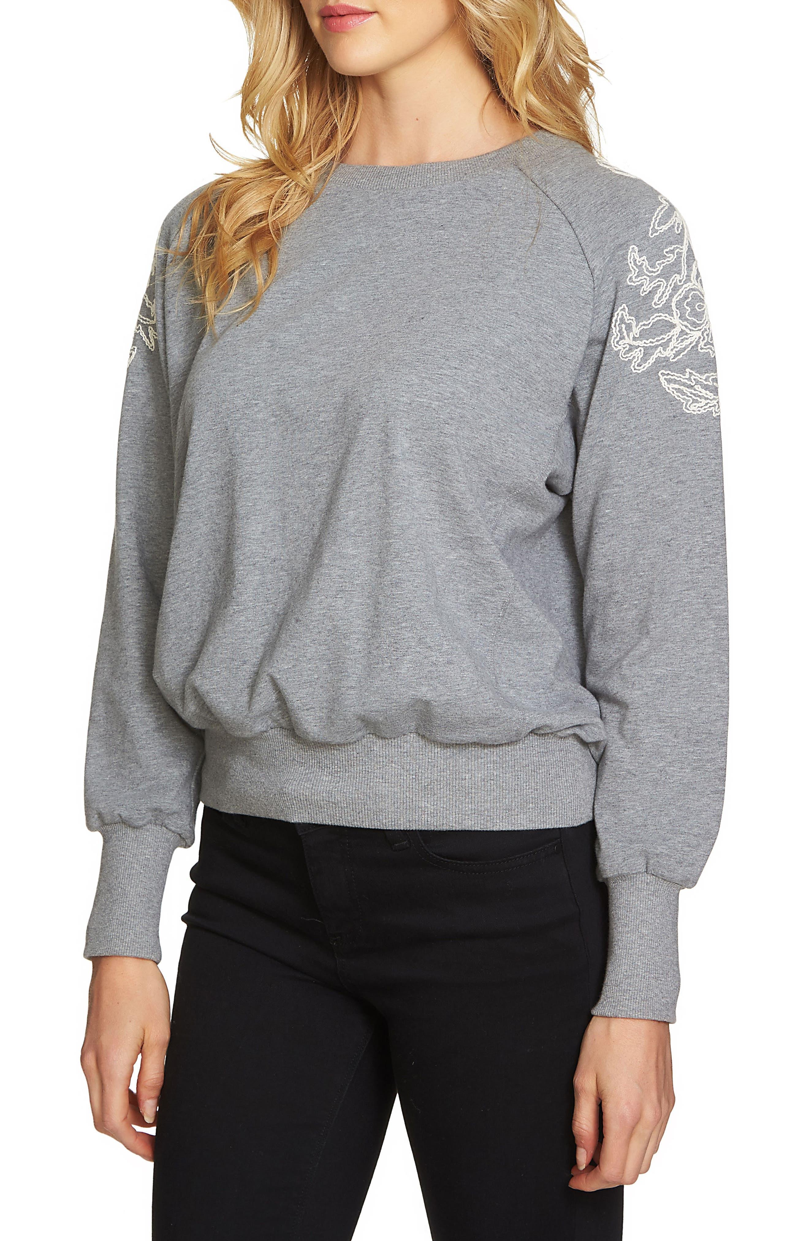 1.STATE Embroidered Shoulder Sweatshirt