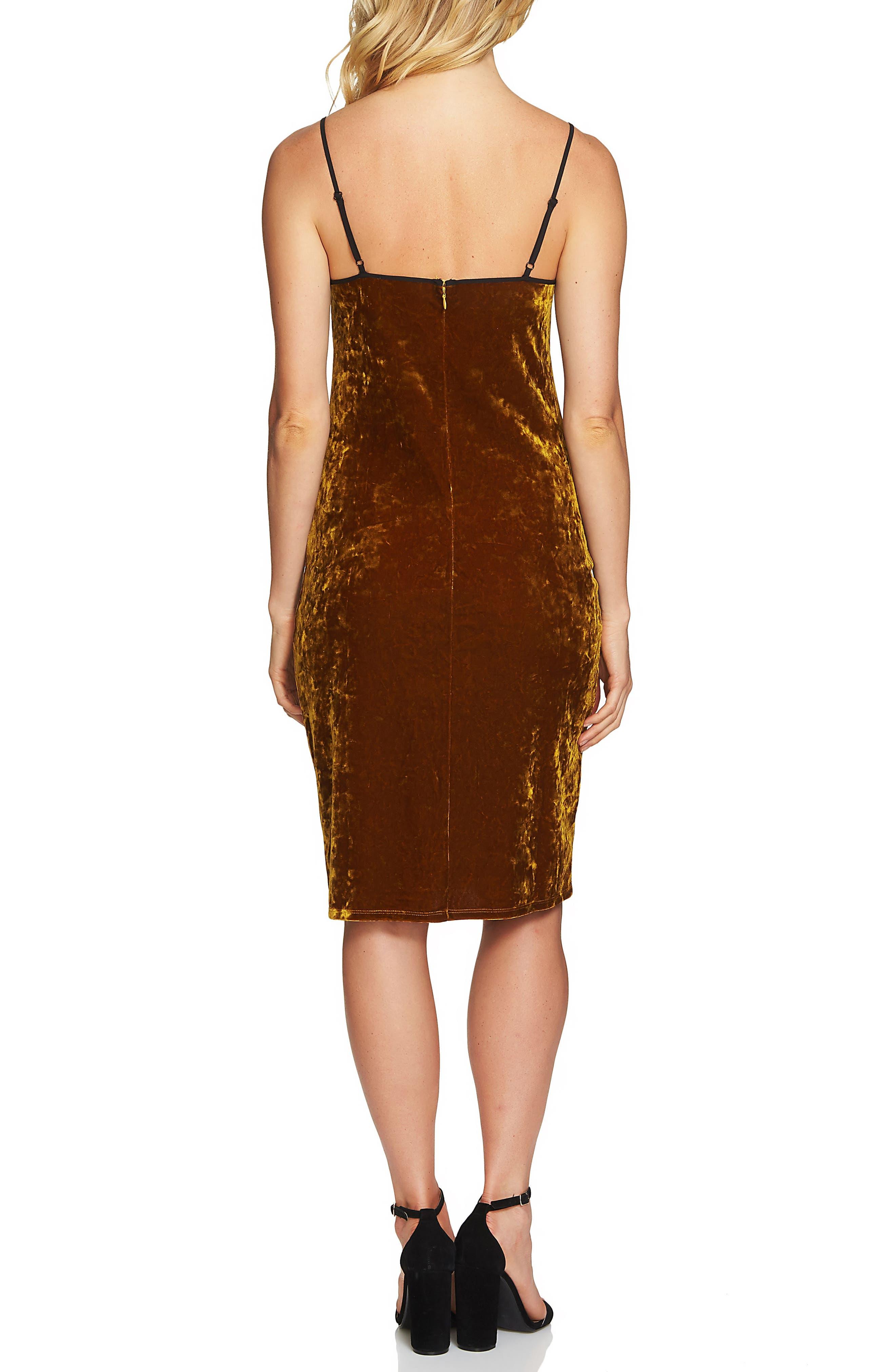 Velvet Body-Con Dress,                             Alternate thumbnail 3, color,                             Deep Gold