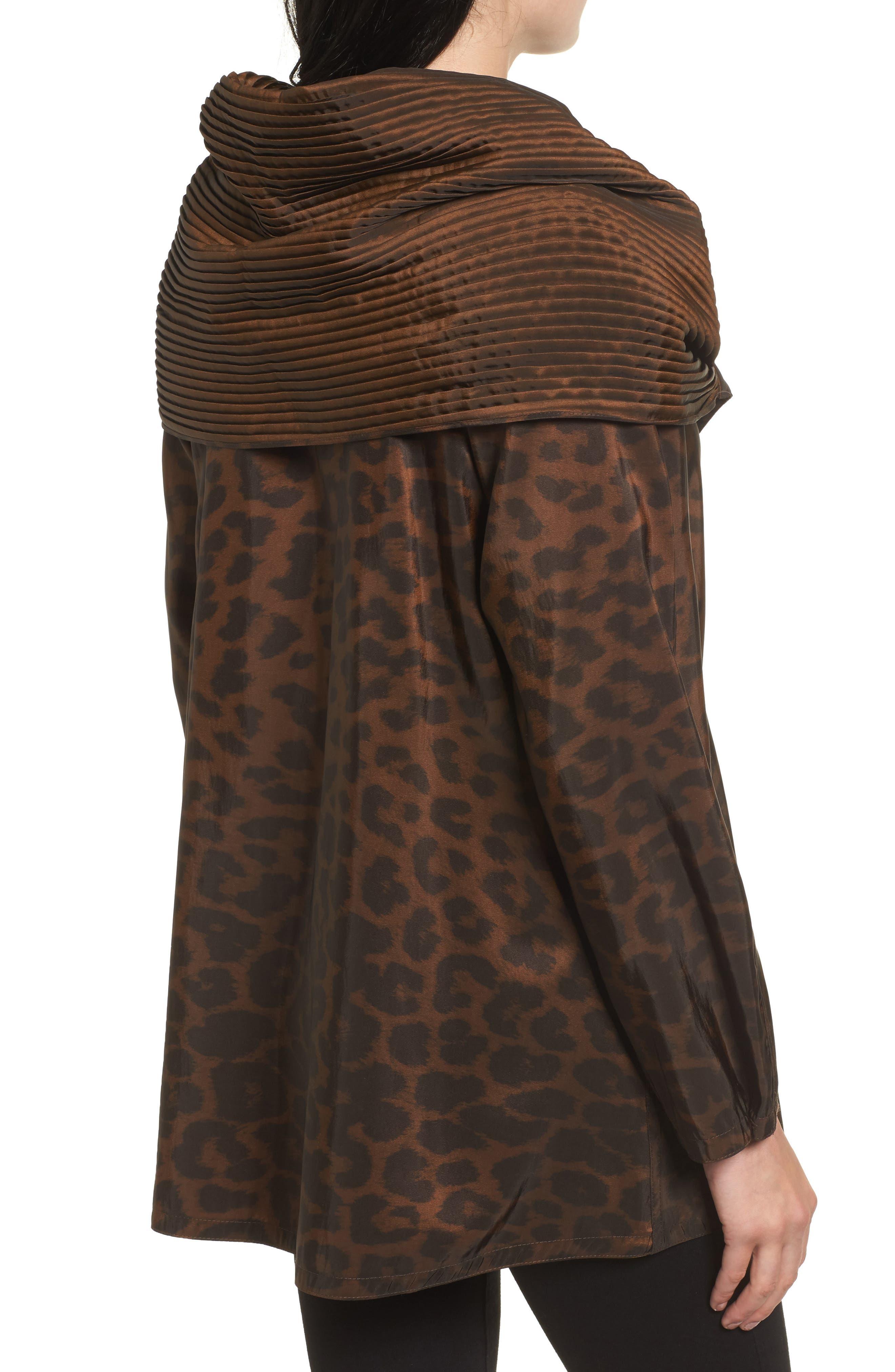 Alternate Image 2  - Mycra Pac Designer Wear 'Mini Donatella Leopard' Reversible Pleat Hood Packable Travel Coat