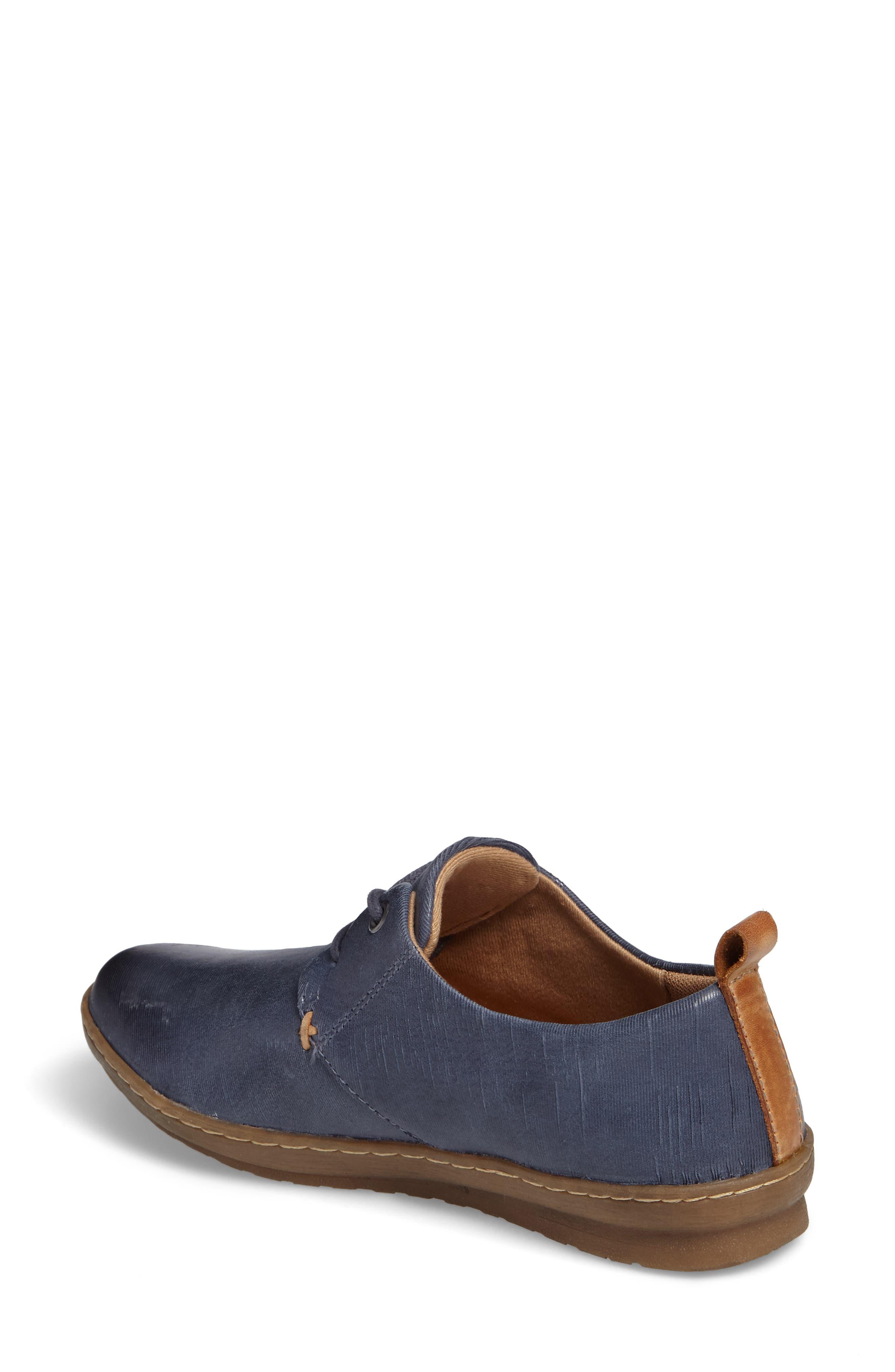 Cassandra Siped Sneaker,                             Alternate thumbnail 2, color,                             Denim Blue Leather