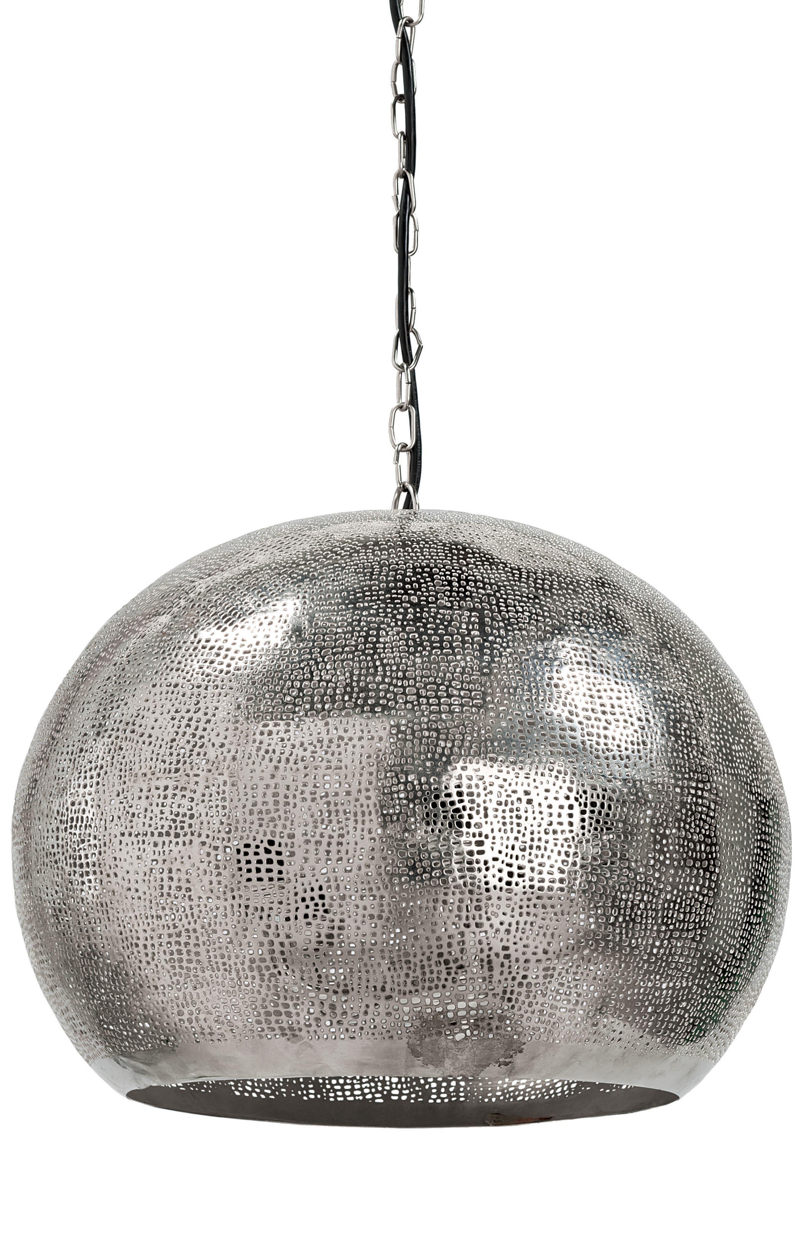 Metal Sphere Pendant Lamp,                             Main thumbnail 1, color,                             Silver