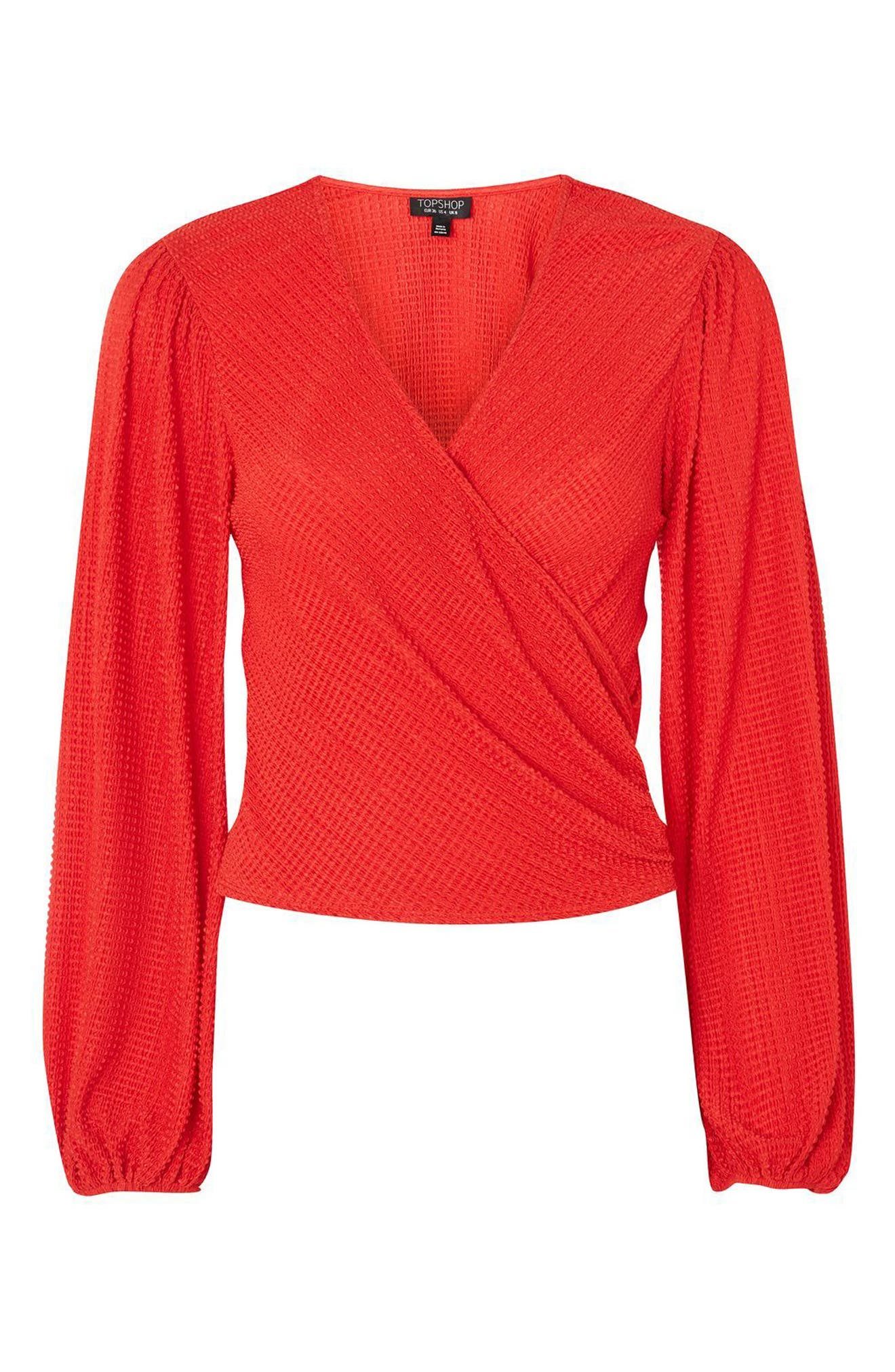Blouson Sleeve Textured Wrap Top,                             Alternate thumbnail 3, color,                             Red