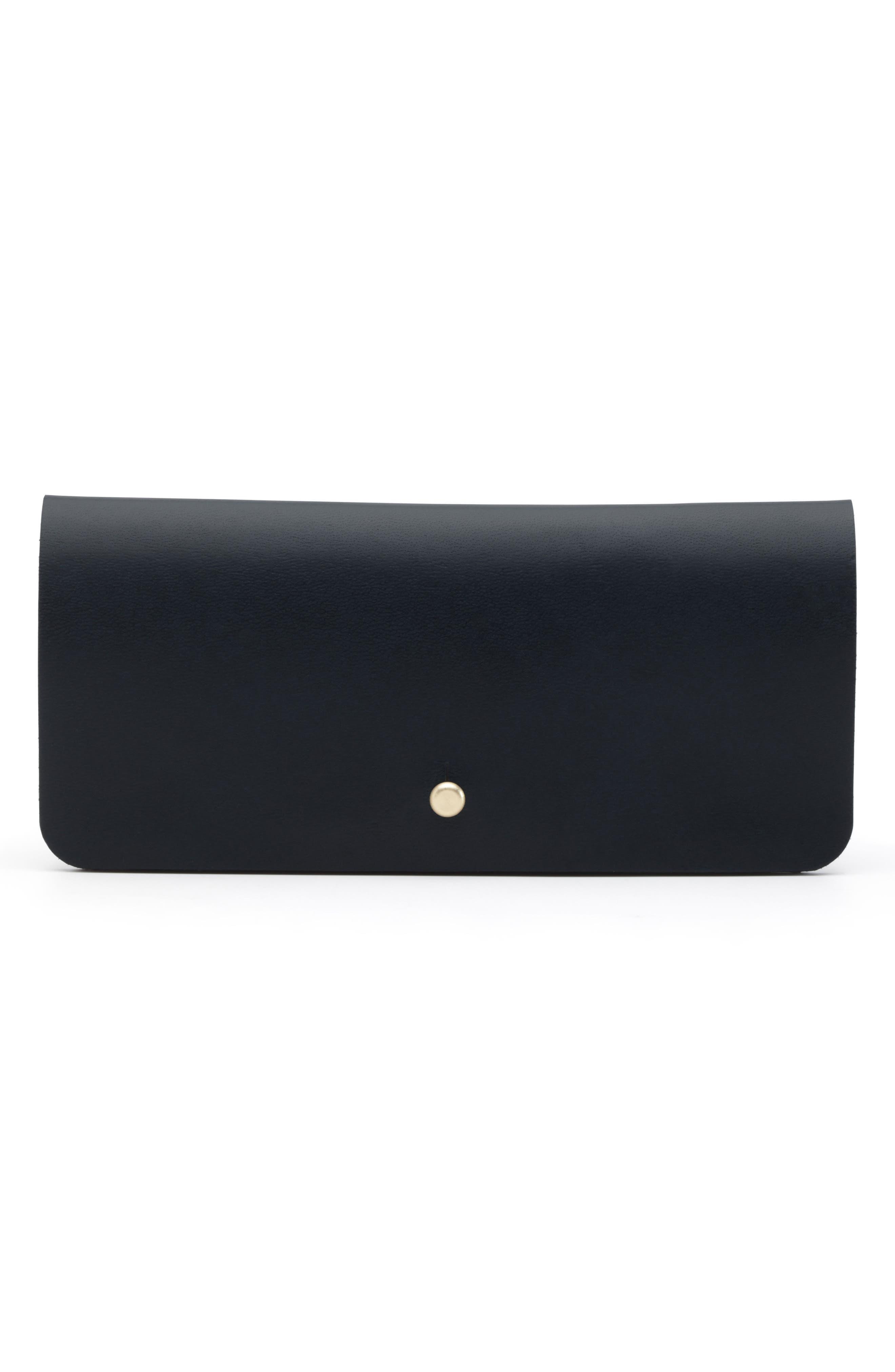 Leather Optical Case,                         Main,                         color, Jet Top Stitch