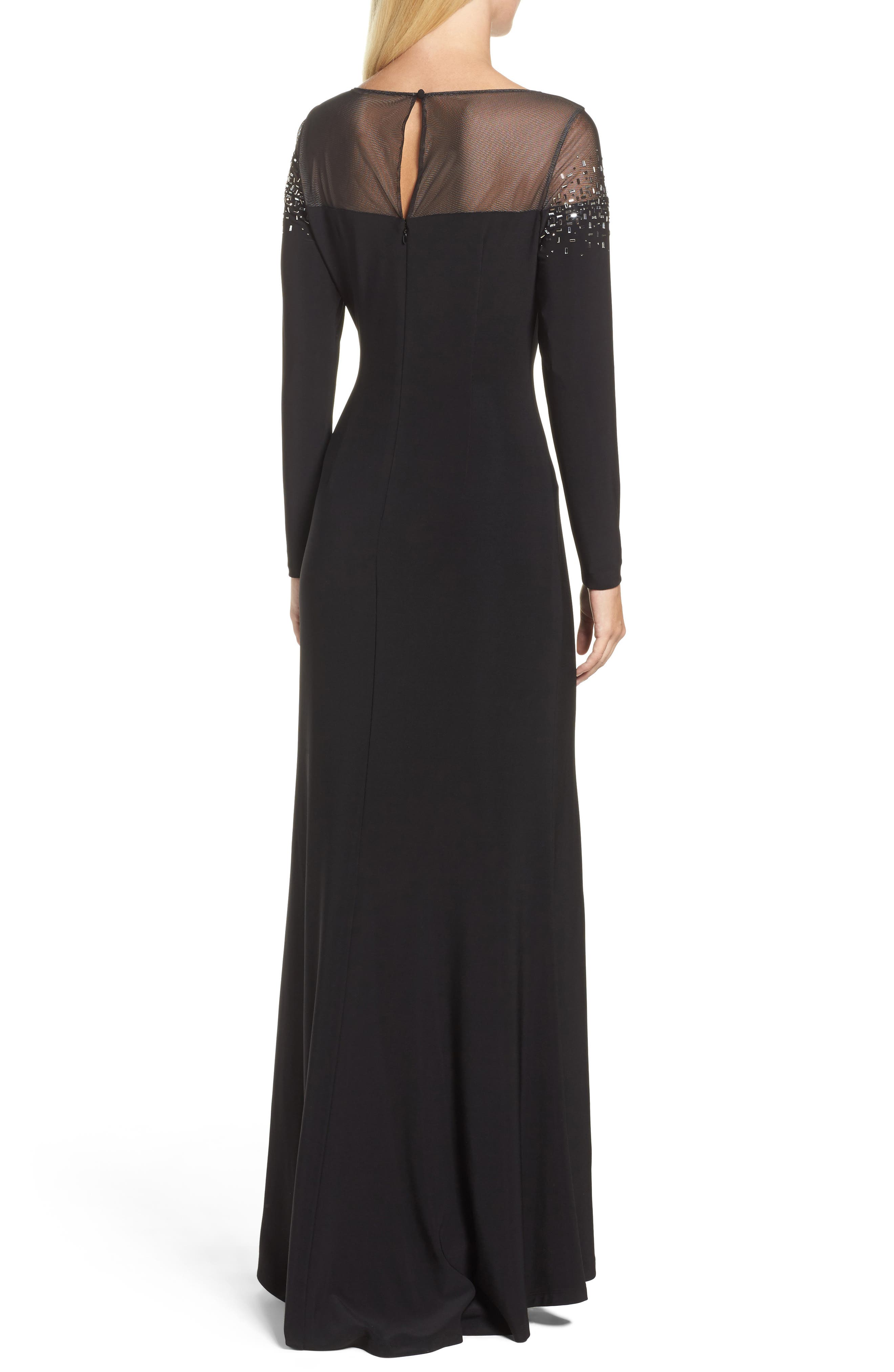 Embellished Jersey Gown,                             Alternate thumbnail 2, color,                             Black