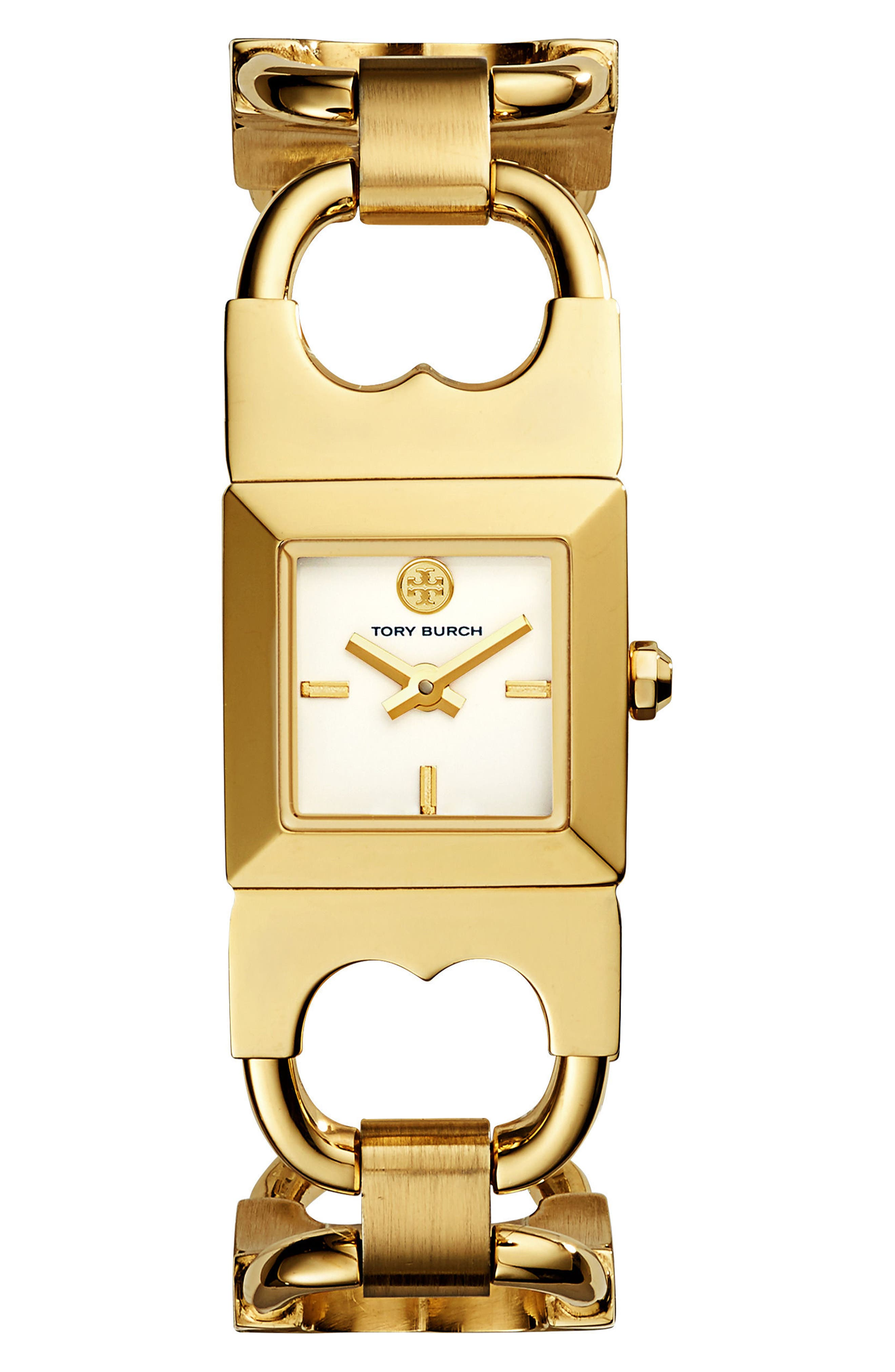 Double T Link Bracelet Watch, 18mm,                         Main,                         color, Gold/ Ivory/ Gold