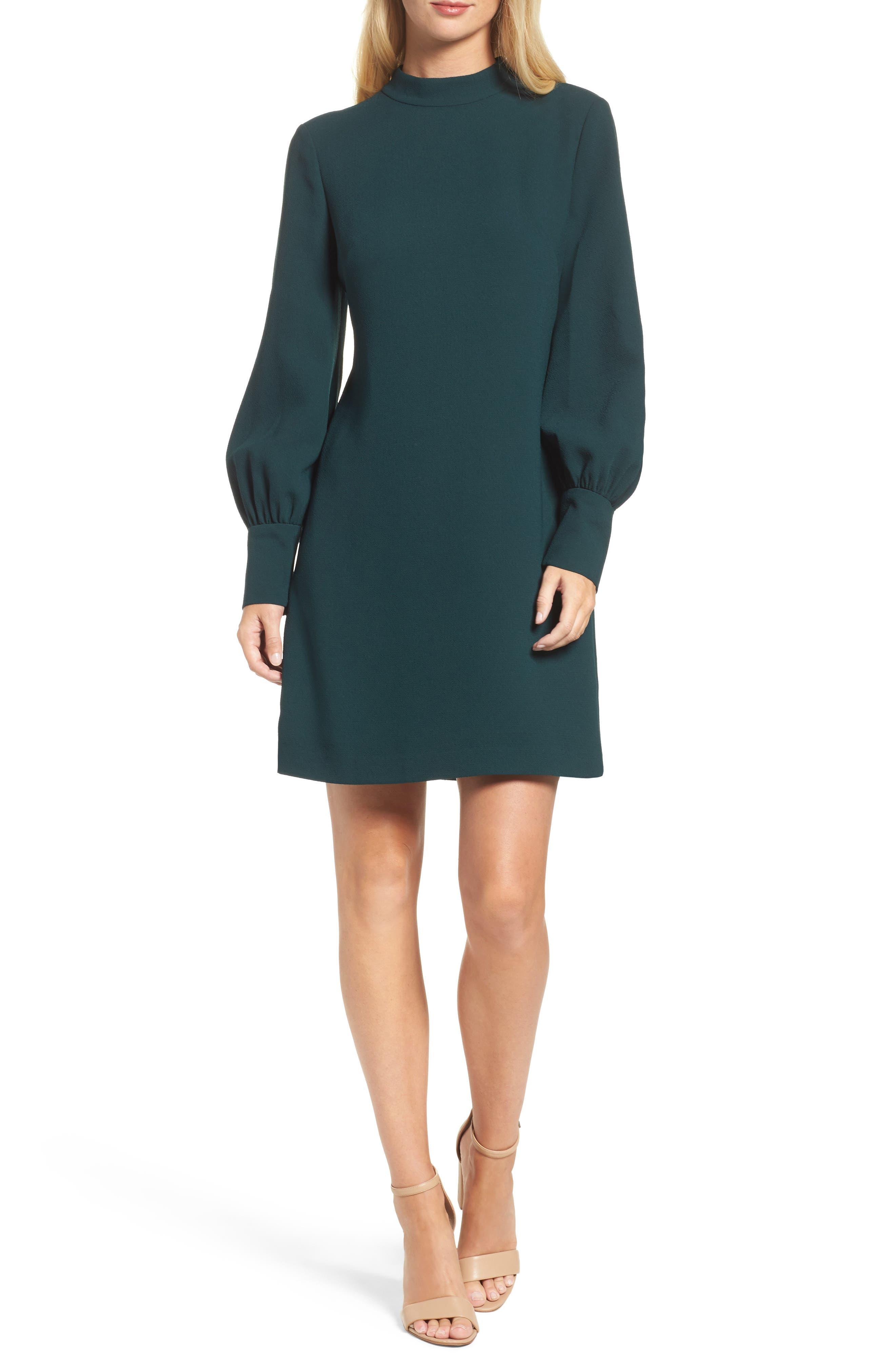 Bishop Sleeve Shift Dress,                         Main,                         color, Hunter
