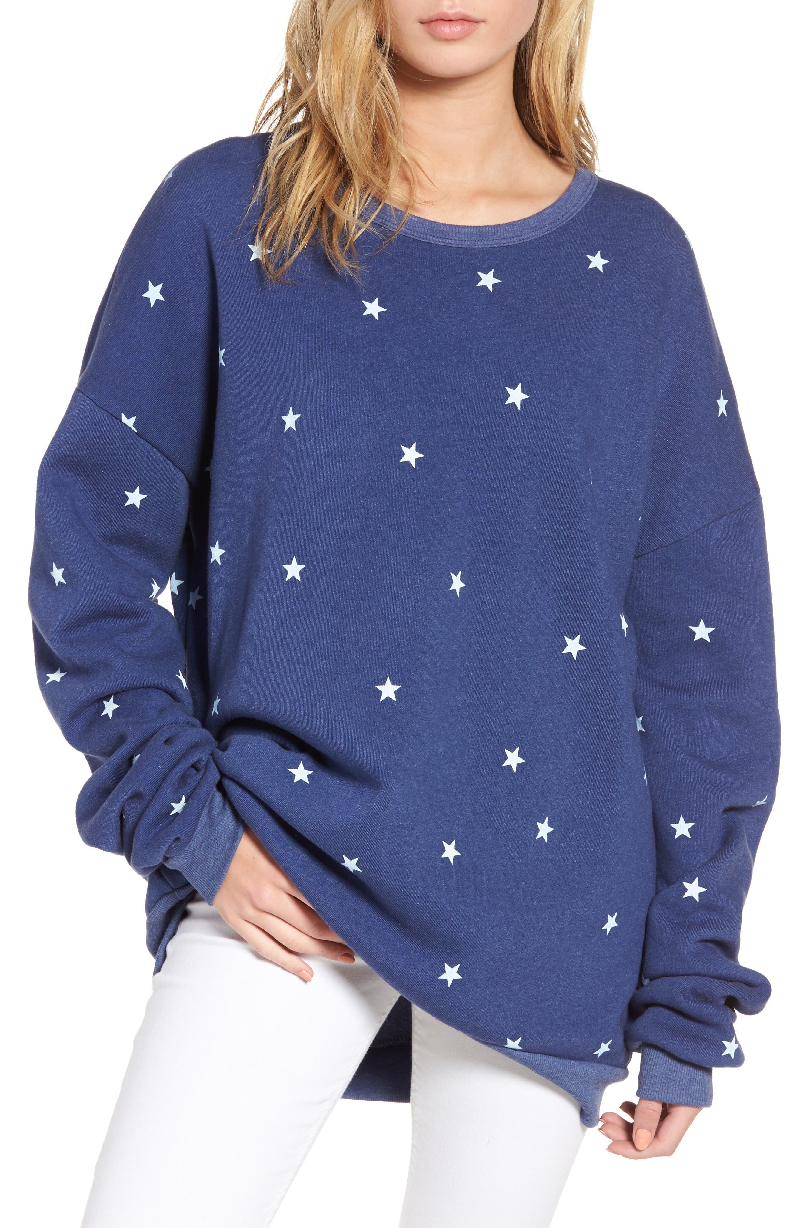 Star Tunic Sweatshirt,                         Main,                         color, Cowboy Blue