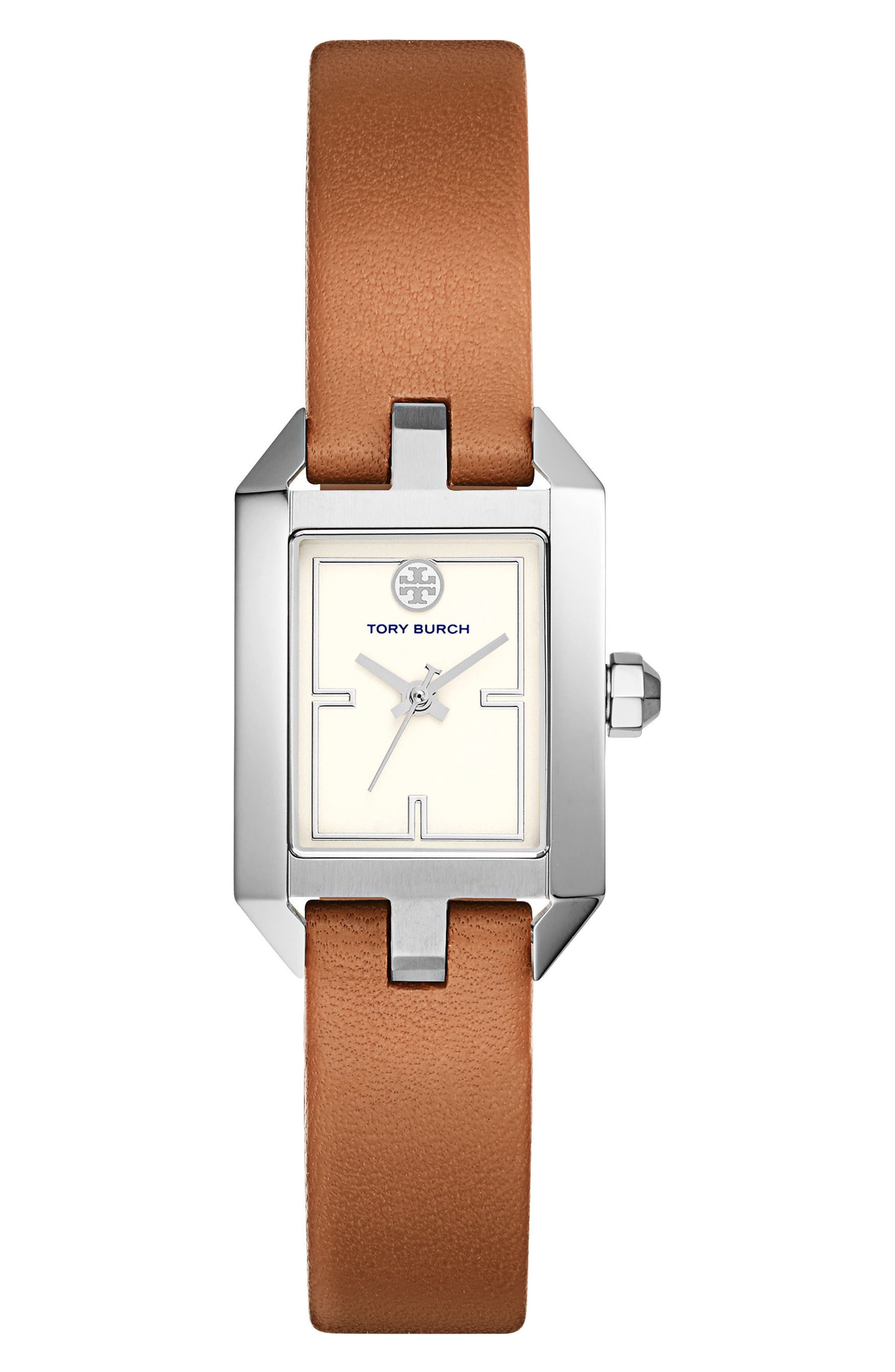 Dalloway Leather Strap Watch, 23mm x 36.5mm,                         Main,                         color, Luggage/ Ivory/ Silver
