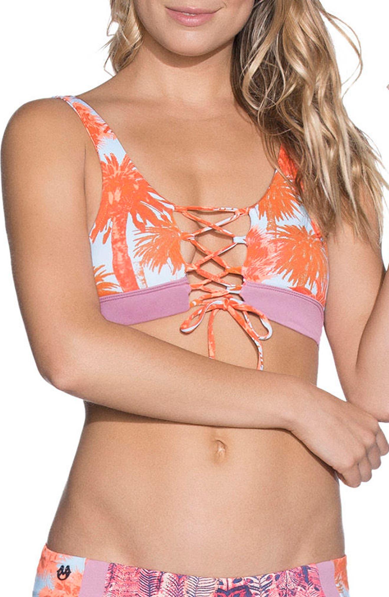 Featherful Decks Bikini Top,                         Main,                         color, Blue Multi