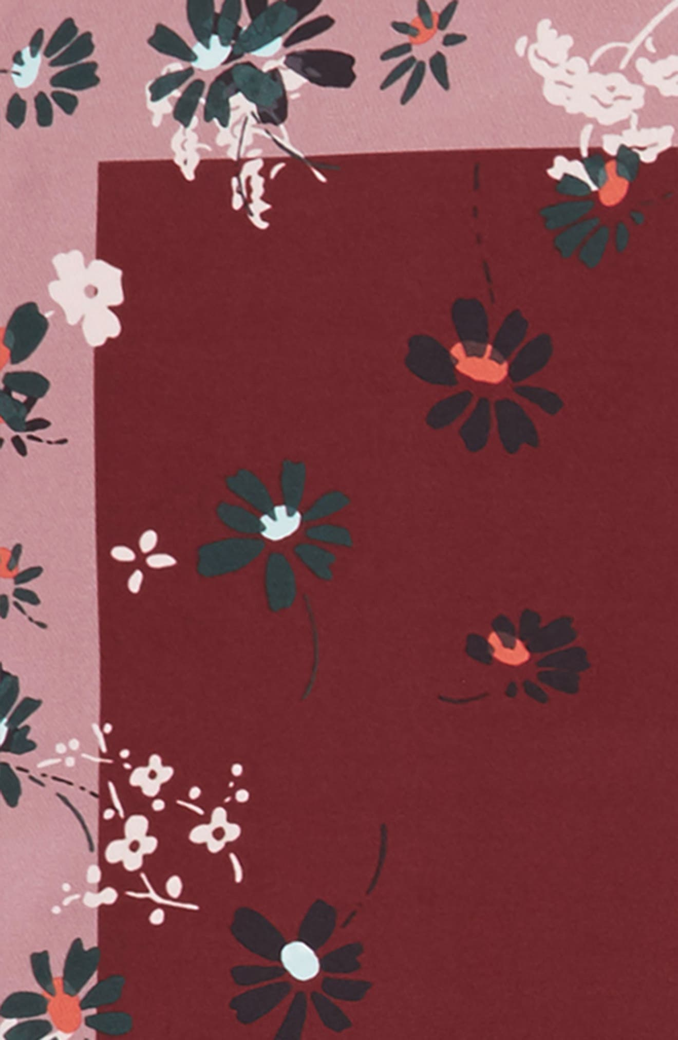 Flowers Fall Silk Scarf,                             Alternate thumbnail 3, color,                             Cassis