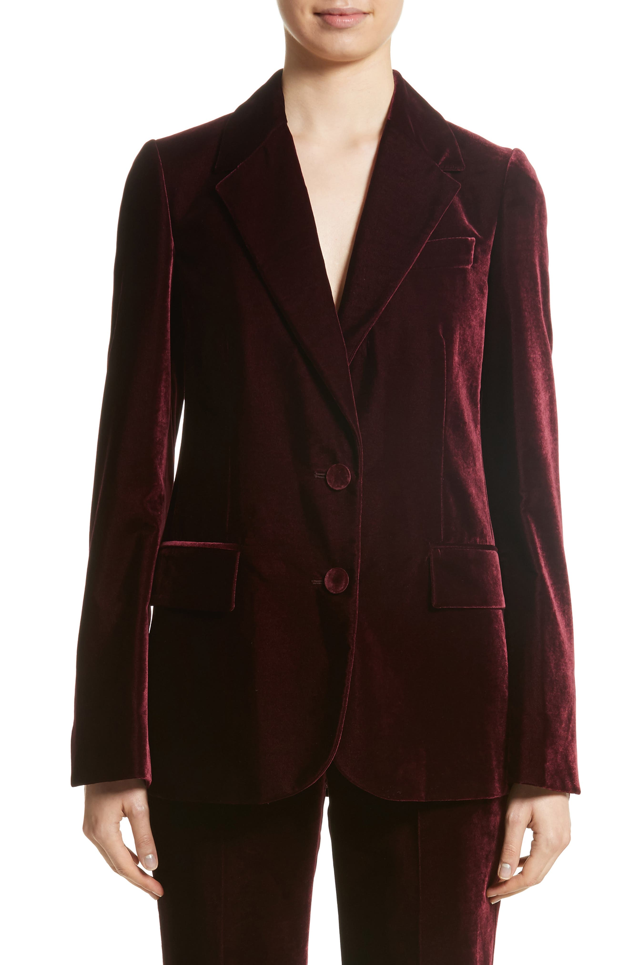 Bonded Velvet Jacket,                             Main thumbnail 1, color,                             Burgundy