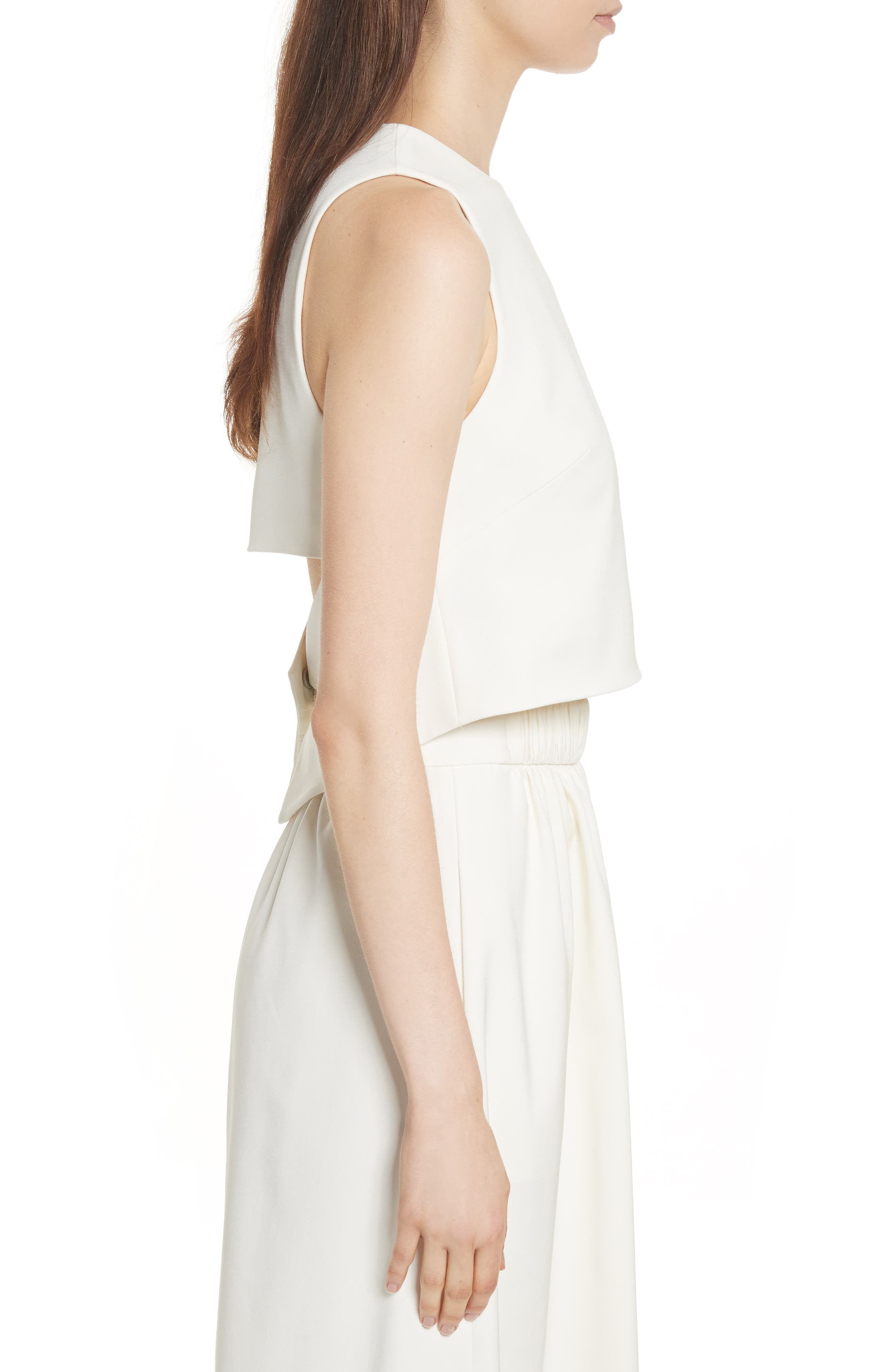 Cutout Back Stretch Faille Top,                             Alternate thumbnail 3, color,                             Ivory