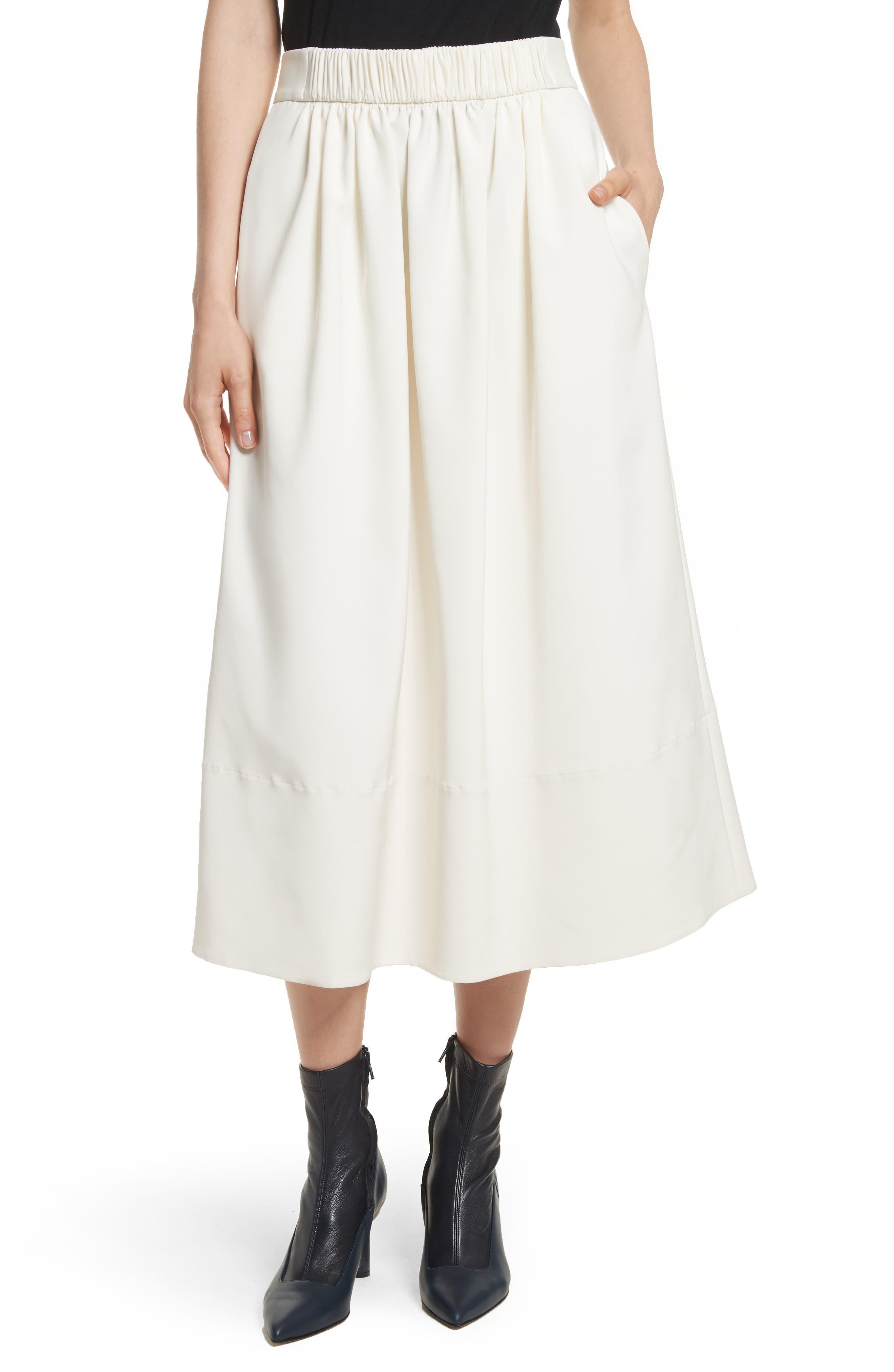 Stretch Faille Full Midi Skirt,                             Main thumbnail 1, color,                             Ivory