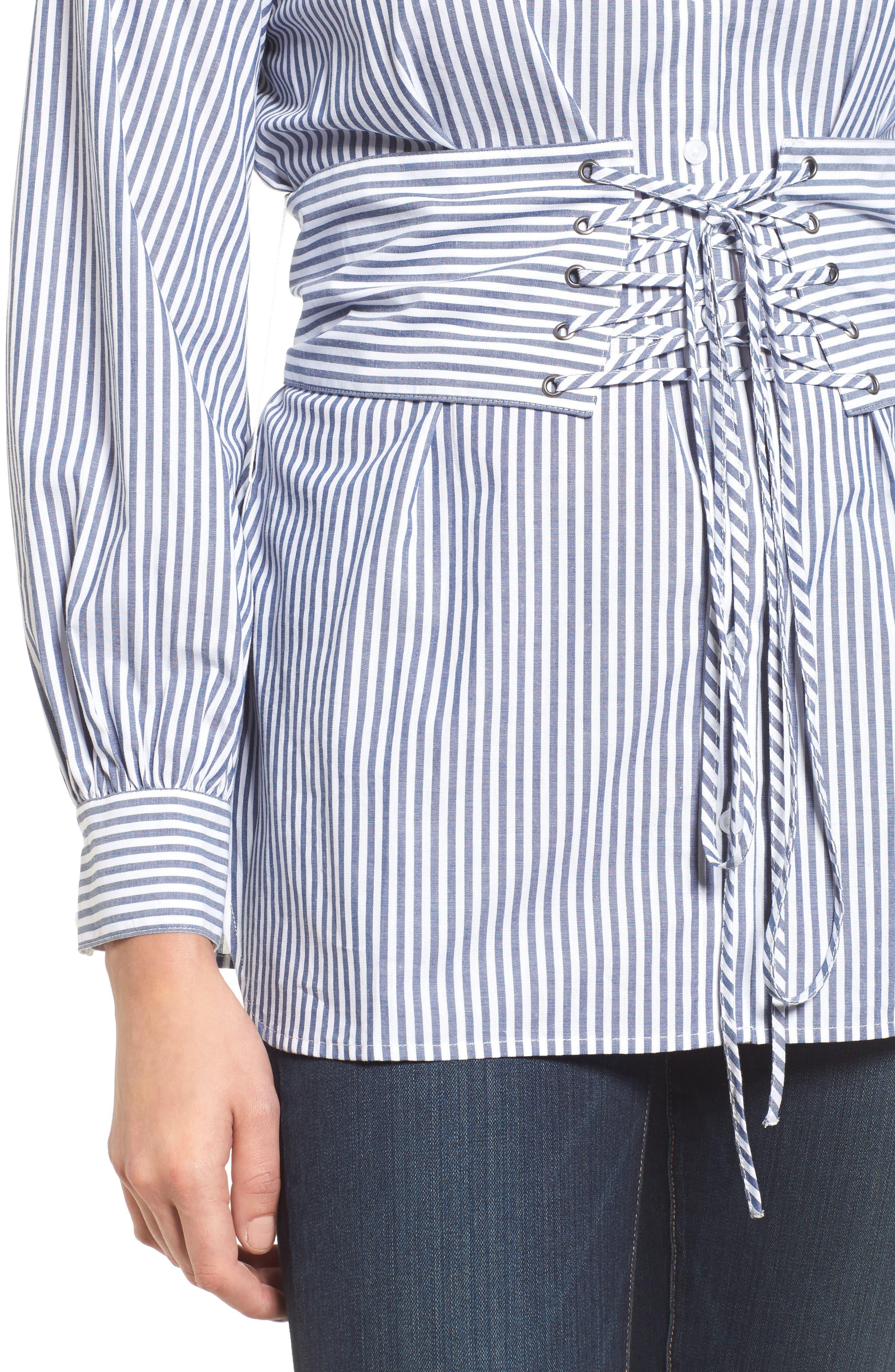 Poplin Corset Blouse,                             Alternate thumbnail 5, color,                             Blue/ White Stripe